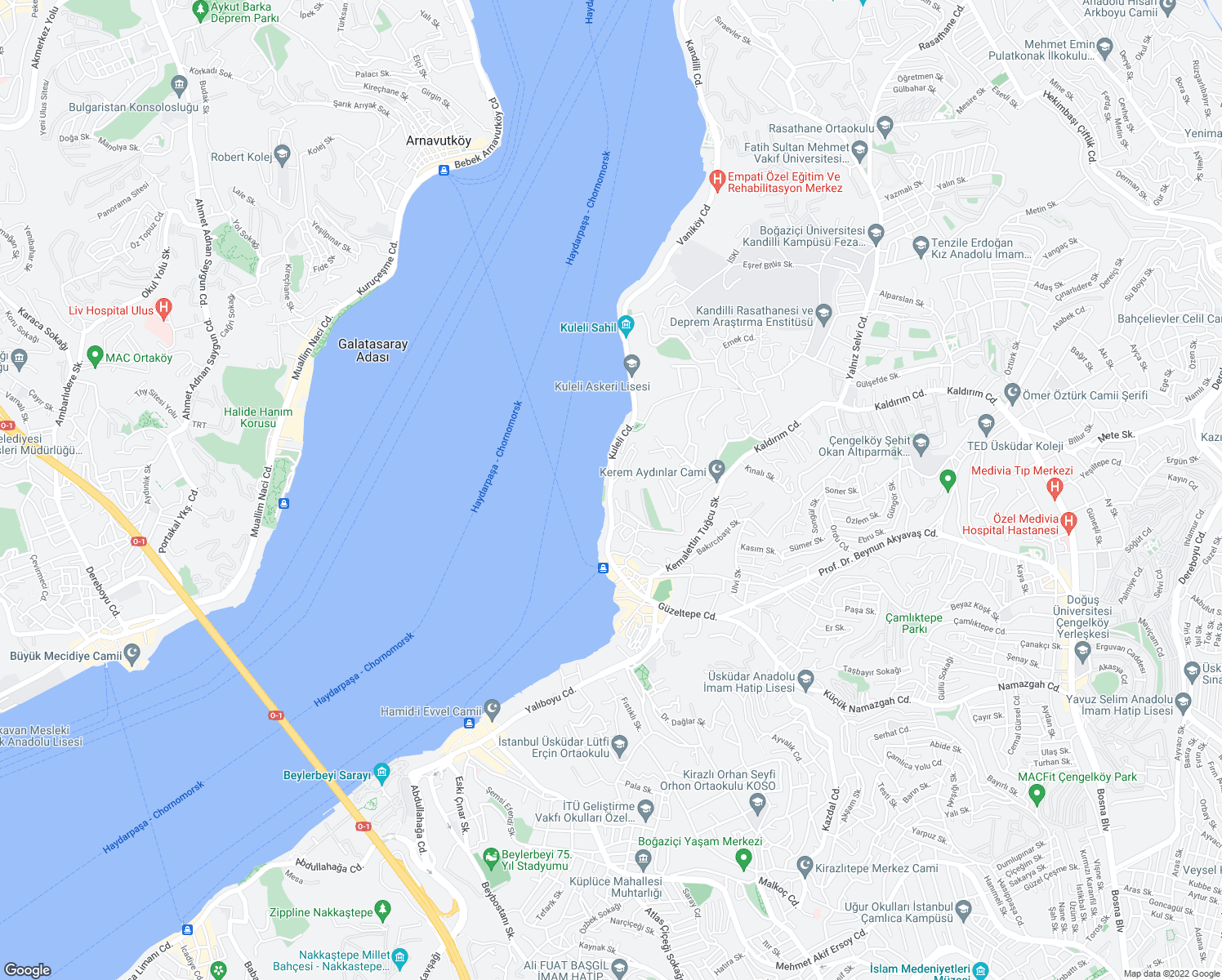 map of restaurants, bars, coffee shops, grocery stores, and more near 18 Kuleli Caddesi in Istanbul