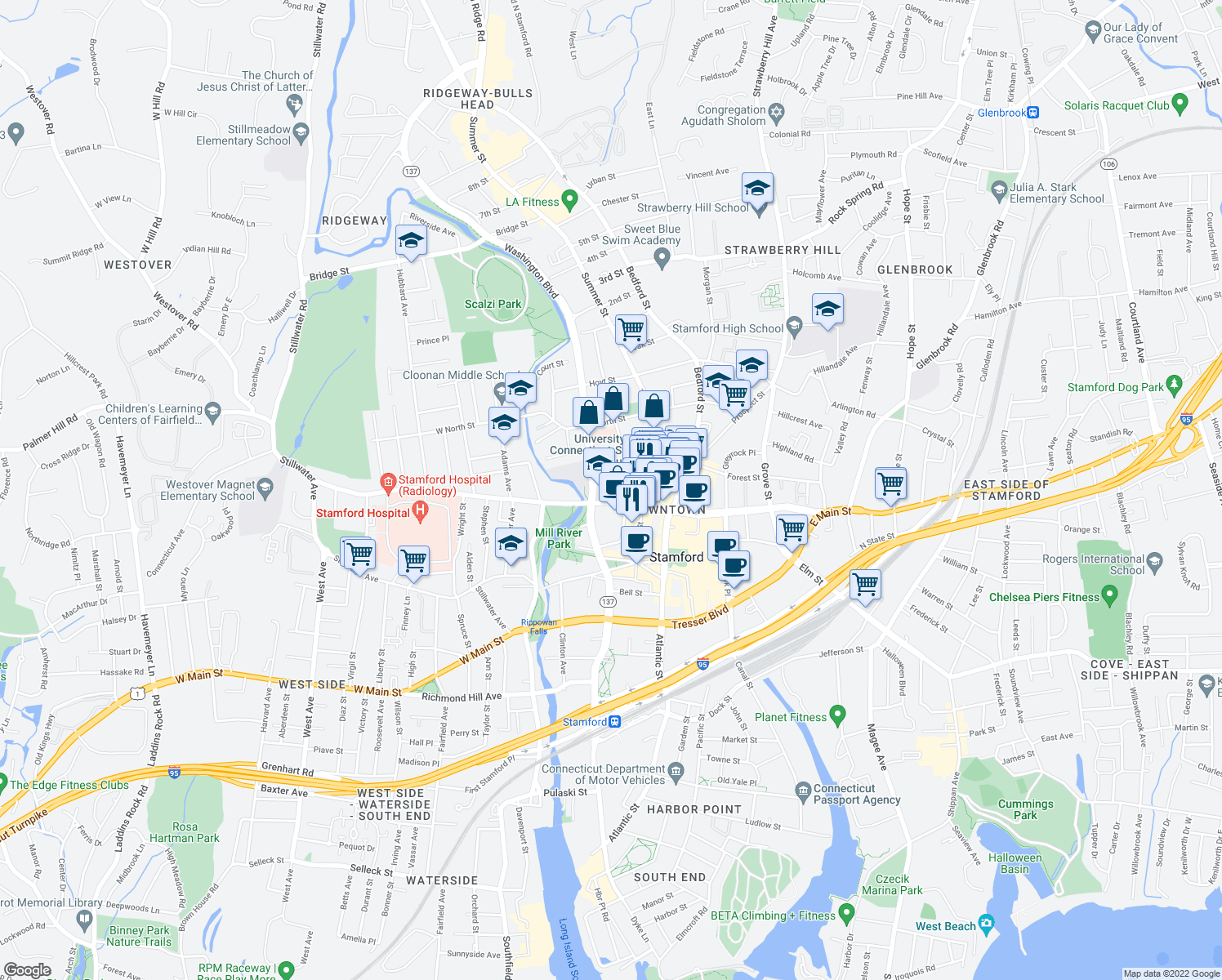 map of restaurants, bars, coffee shops, grocery stores, and more near 1 University Place in Stamford
