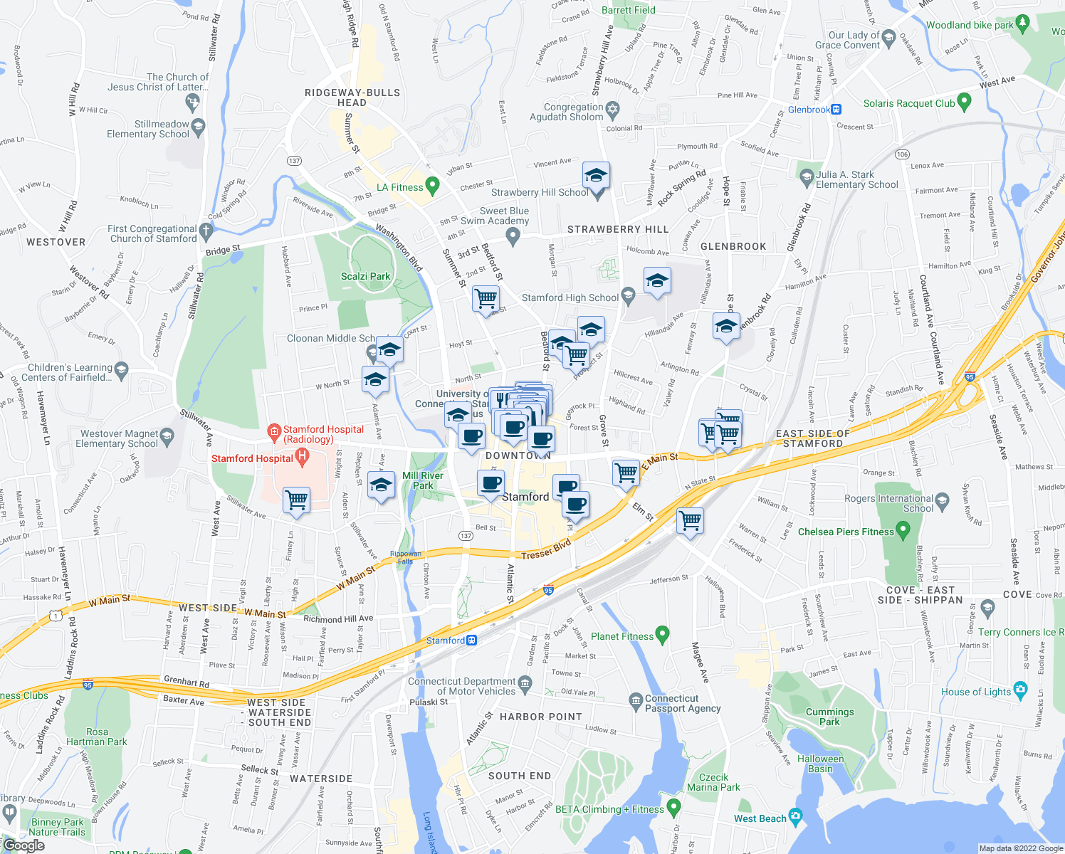 map of restaurants, bars, coffee shops, grocery stores, and more near 148 Bedford Street in Stamford