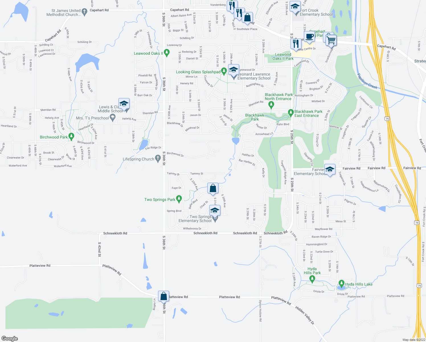 map of restaurants, bars, coffee shops, grocery stores, and more near 3113 Tammy Street in Bellevue