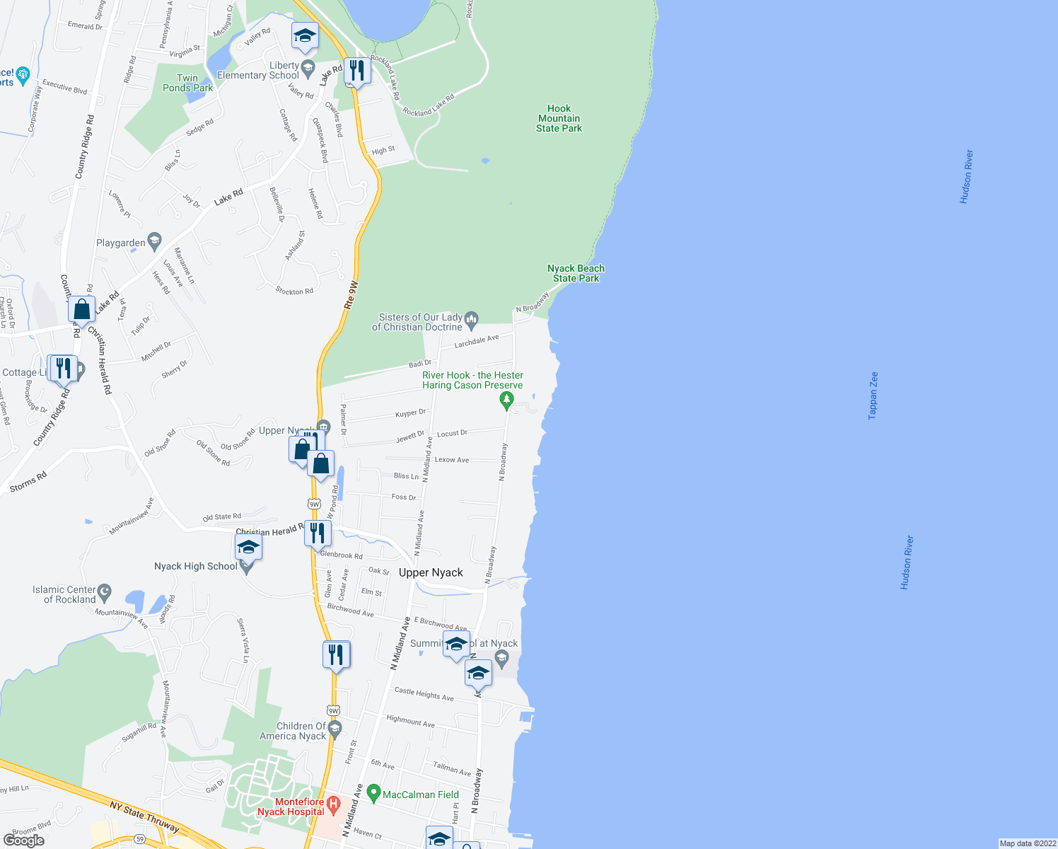 map of restaurants, bars, coffee shops, grocery stores, and more near 615A North Broadway in Nyack