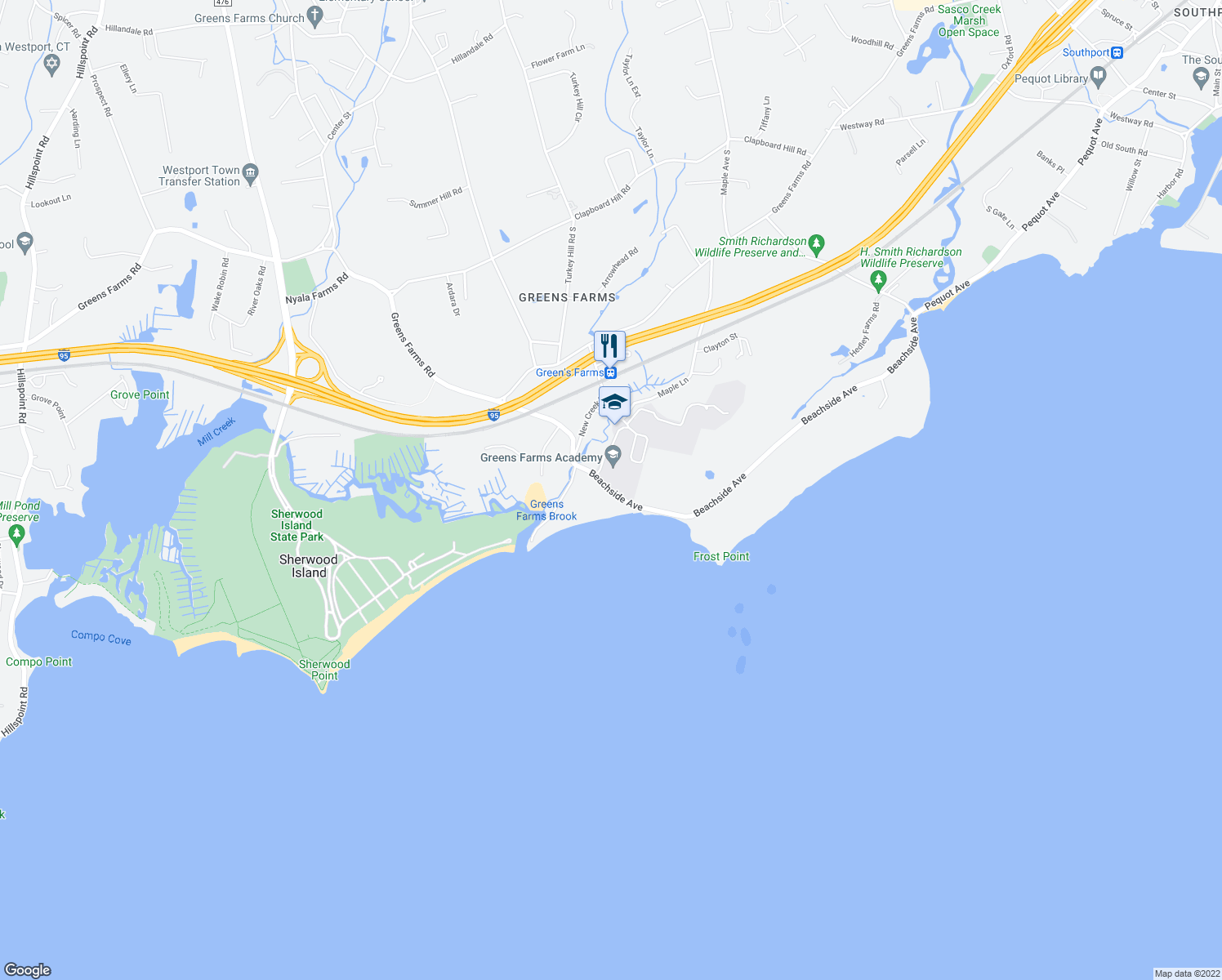 map of restaurants, bars, coffee shops, grocery stores, and more near 30 Beachside Avenue in Westport