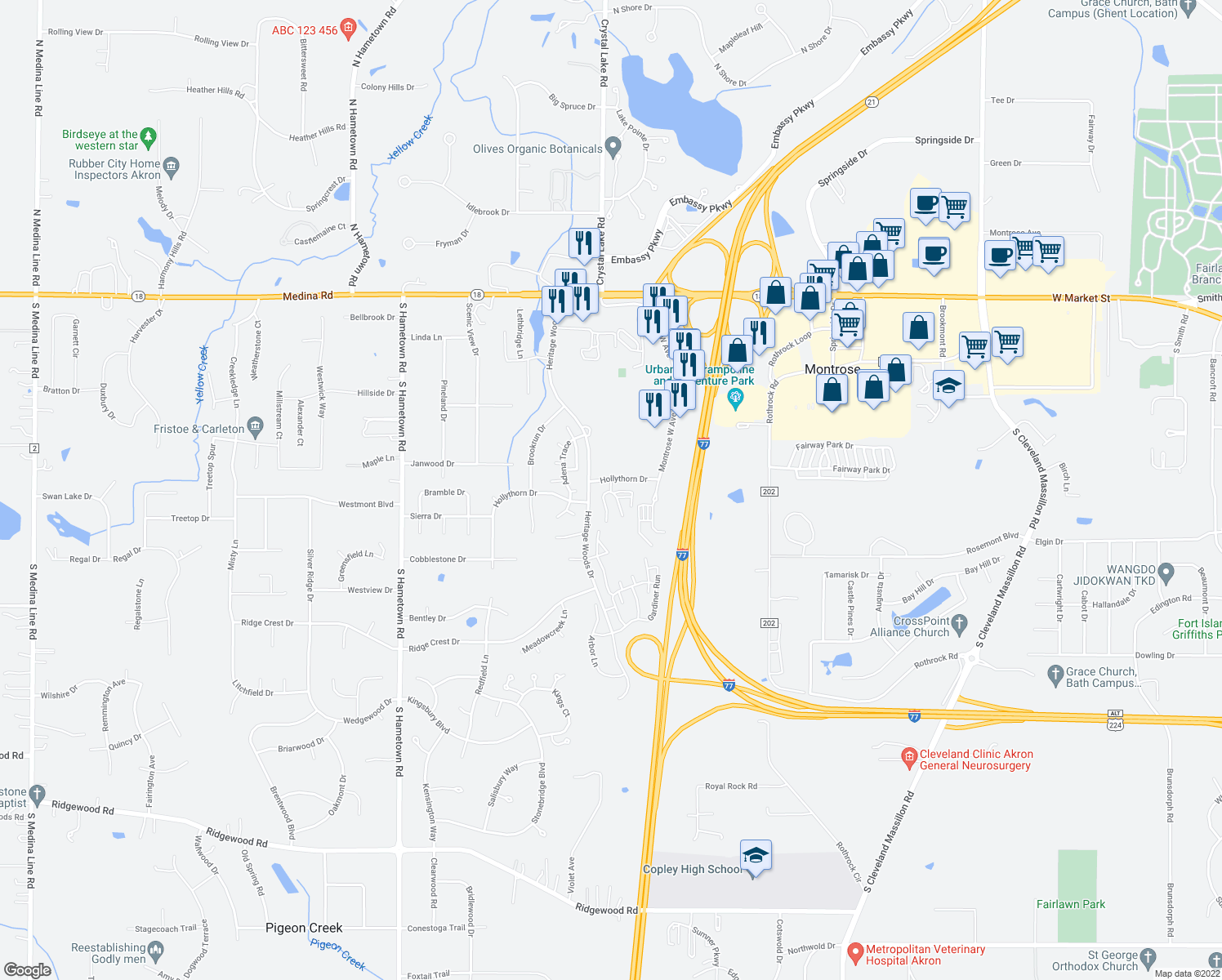 map of restaurants, bars, coffee shops, grocery stores, and more near 454 Crestmont Court in Akron