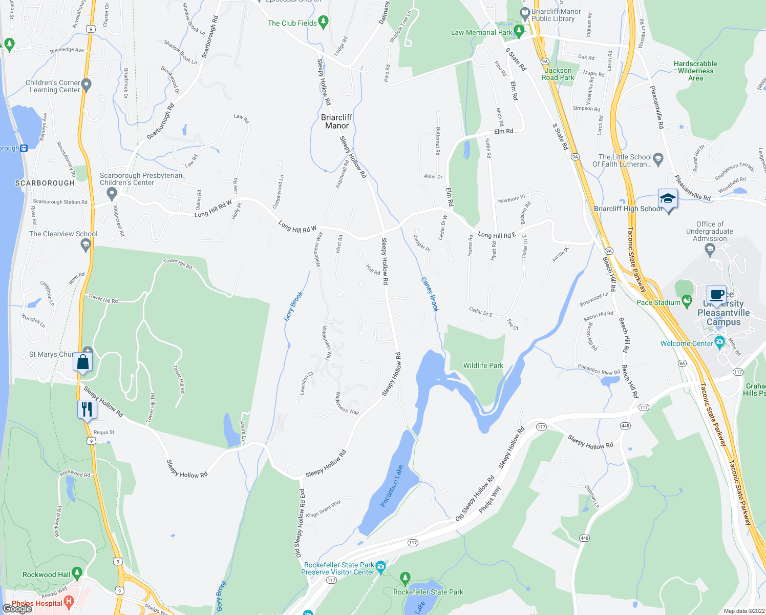 map of restaurants, bars, coffee shops, grocery stores, and more near 8 Hollow Tree Road in Briarcliff Manor
