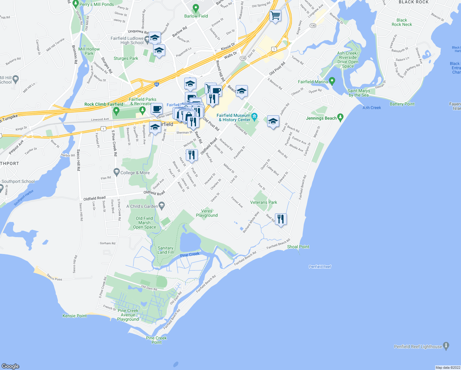 map of restaurants, bars, coffee shops, grocery stores, and more near 7 Reef Court in Fairfield