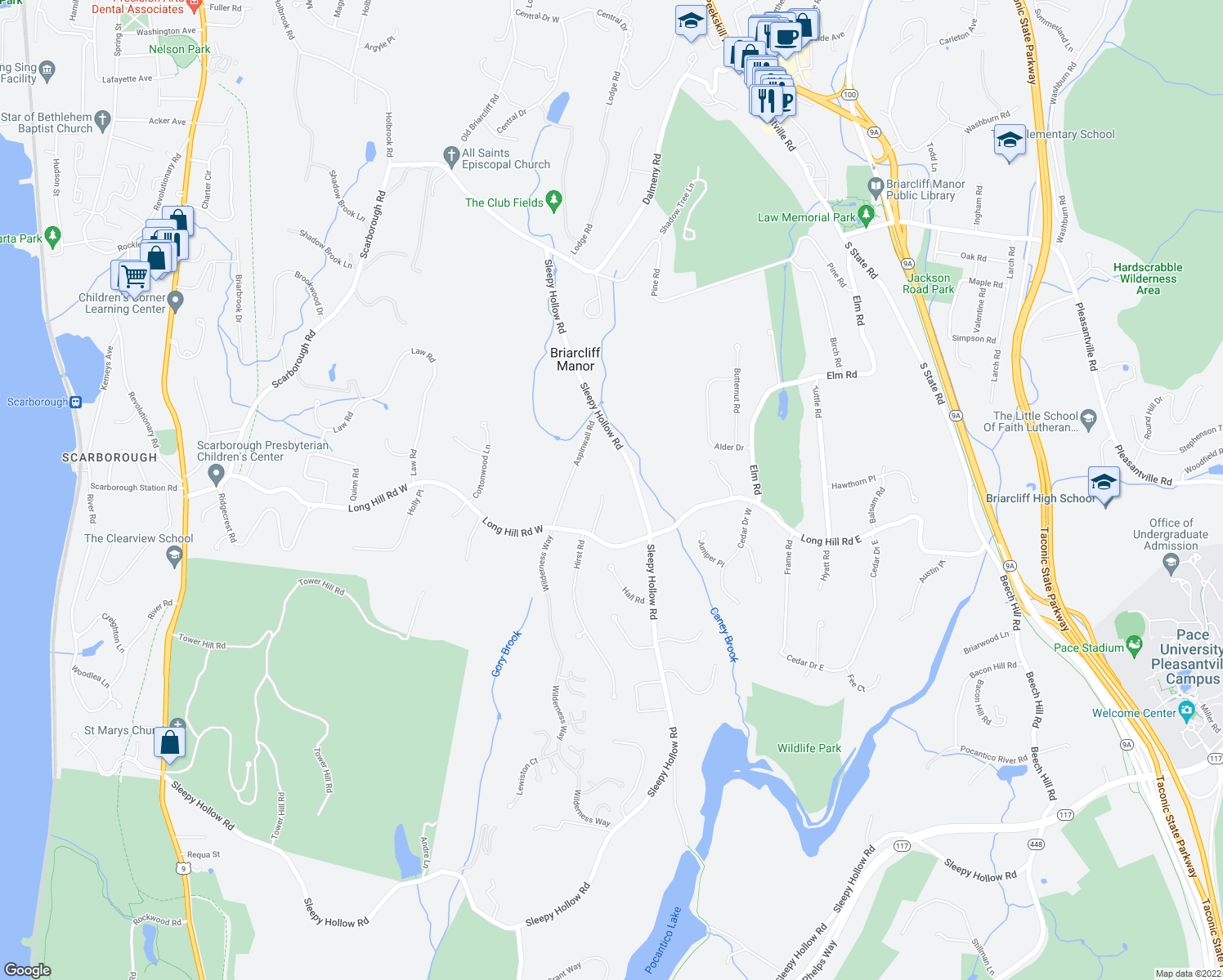 map of restaurants, bars, coffee shops, grocery stores, and more near 35 Hidden Oak Road in Briarcliff Manor