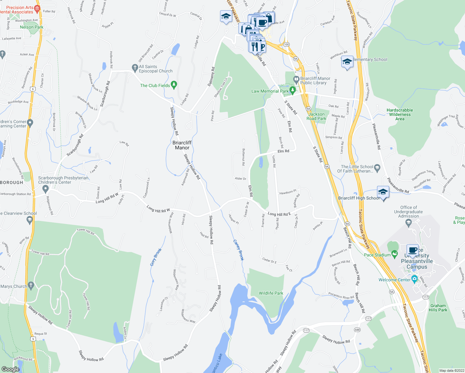 map of restaurants, bars, coffee shops, grocery stores, and more near 363 Long Hill Road East in Briarcliff Manor