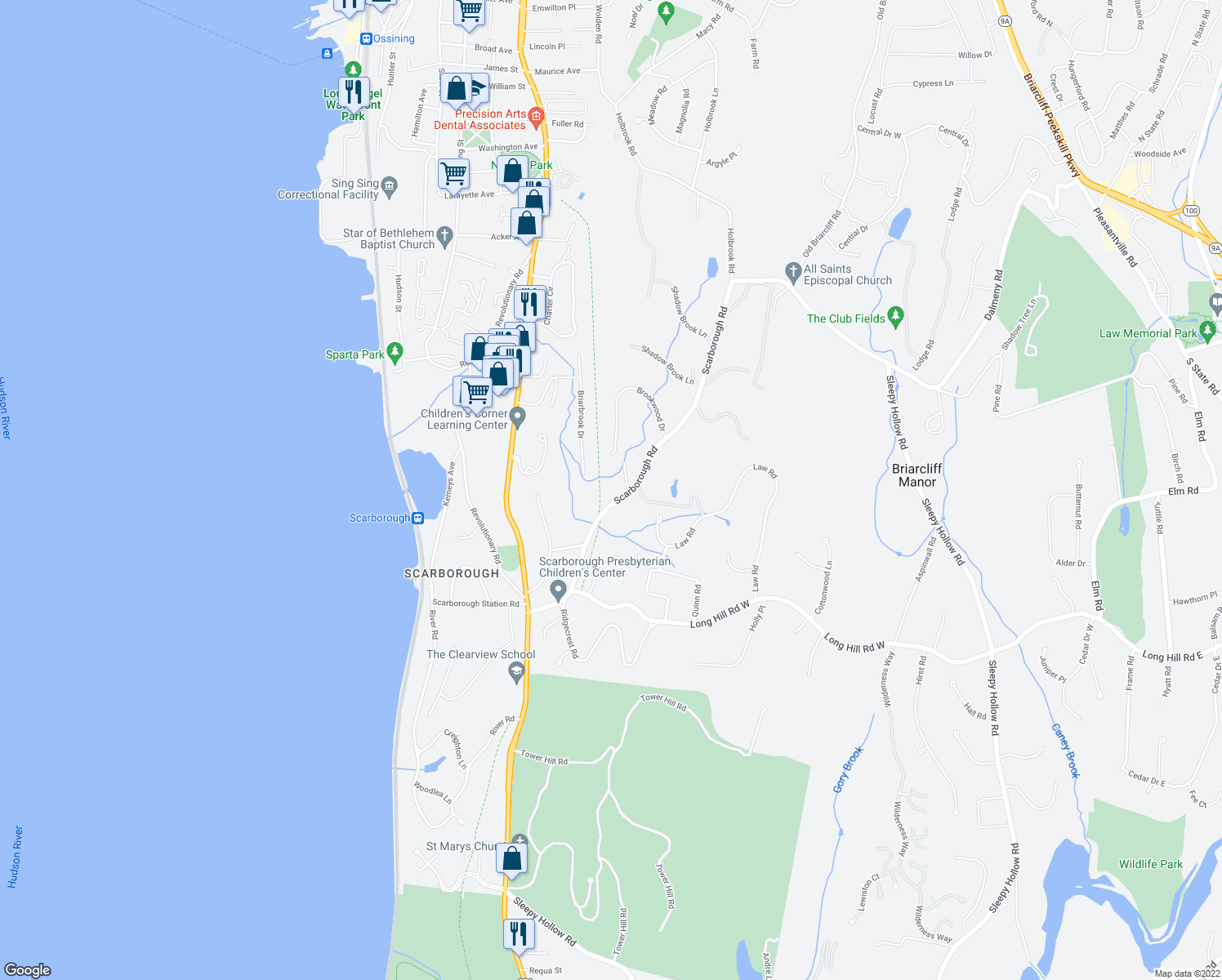 map of restaurants, bars, coffee shops, grocery stores, and more near 543 Scarborough Road in Briarcliff Manor