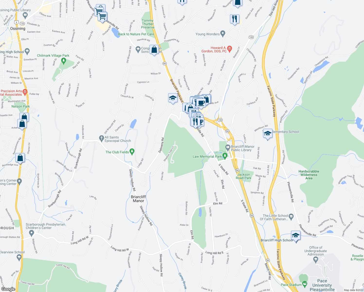 map of restaurants, bars, coffee shops, grocery stores, and more near 4 Arrow Tree Lane in Briarcliff Manor
