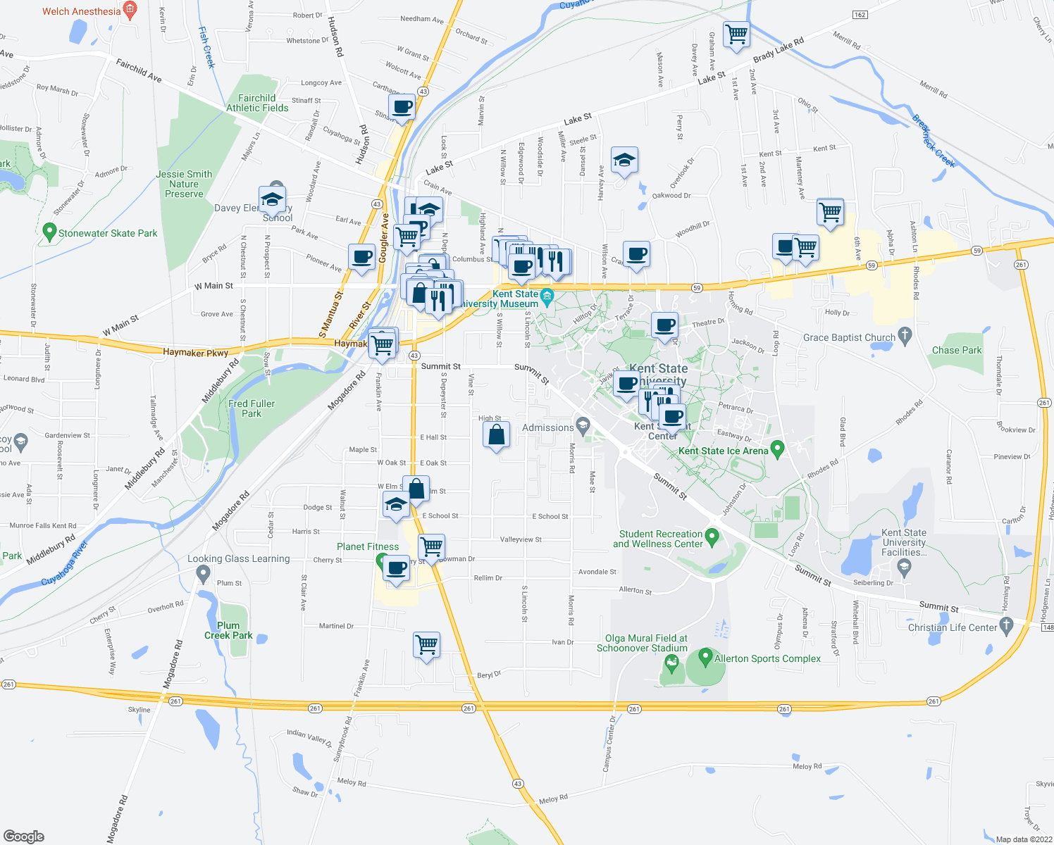 map of restaurants, bars, coffee shops, grocery stores, and more near 571 South Lincoln Street in Kent