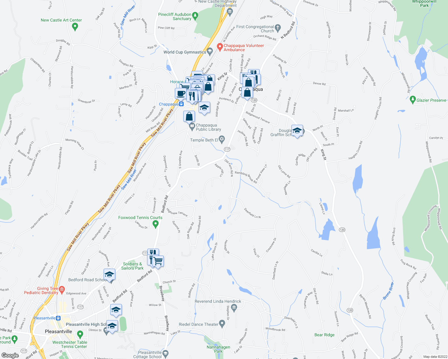 map of restaurants, bars, coffee shops, grocery stores, and more near 6 Hillside Place in Chappaqua