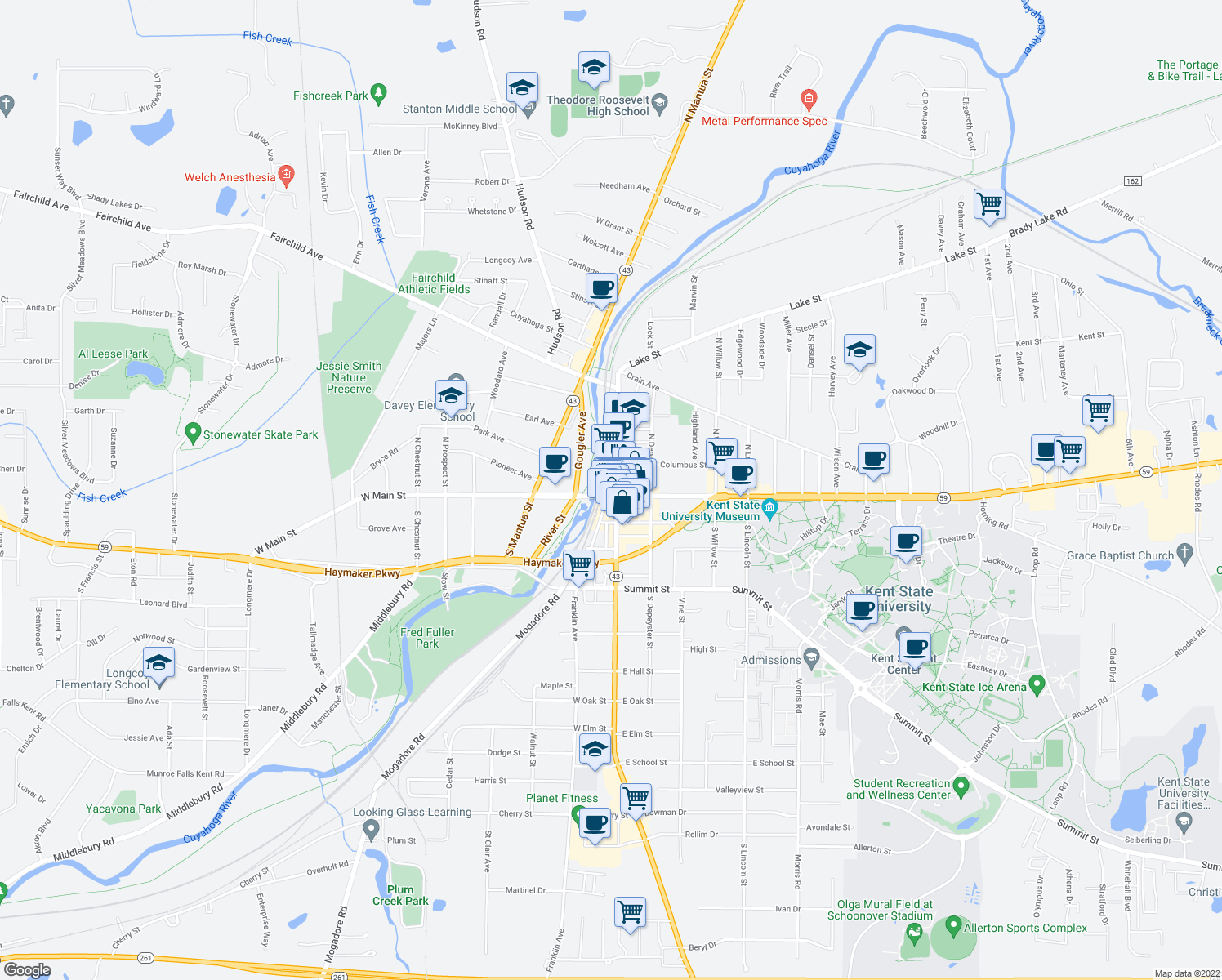 map of restaurants, bars, coffee shops, grocery stores, and more near in Kent