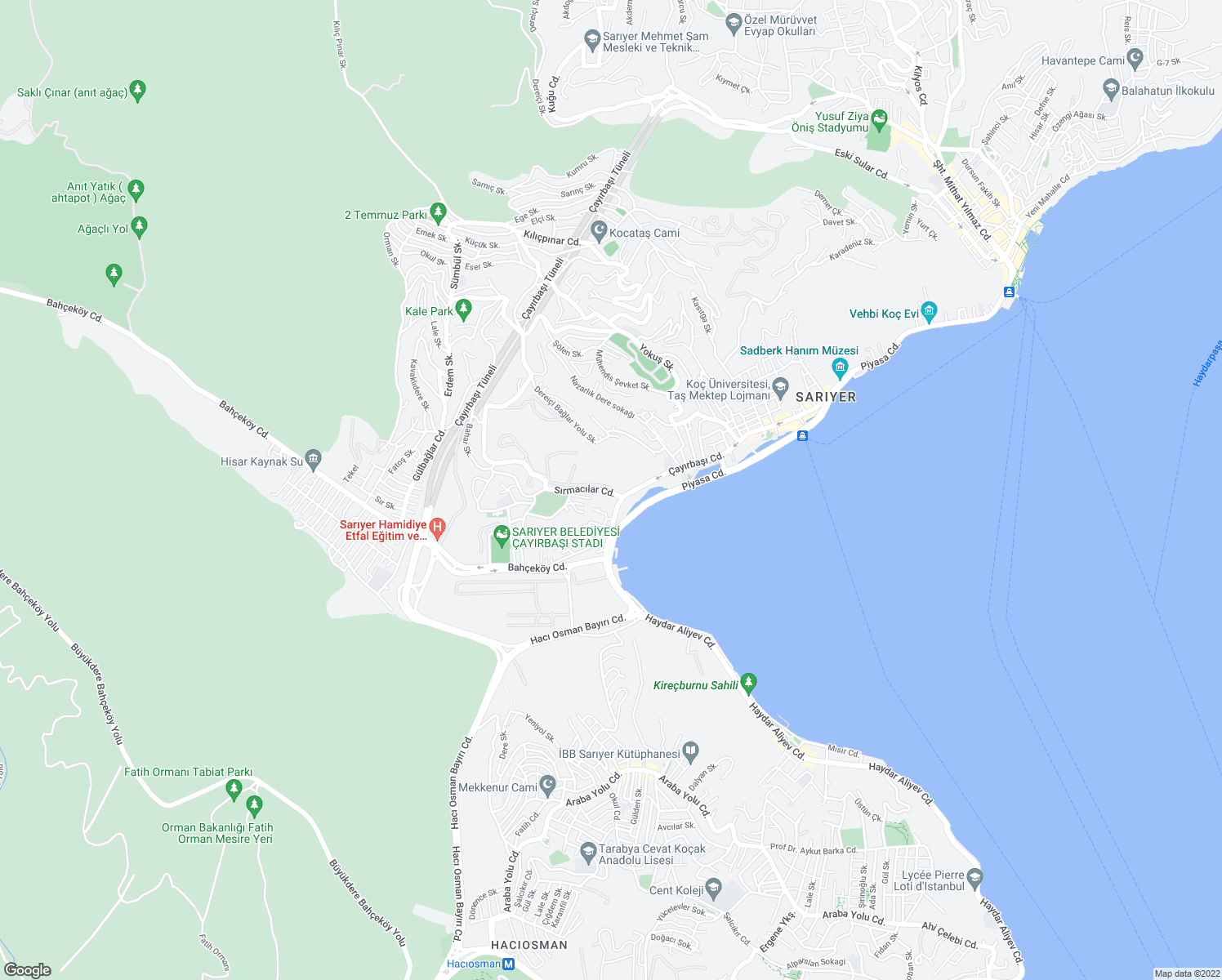 map of restaurants, bars, coffee shops, grocery stores, and more near Sedat Kent in Sarıyer