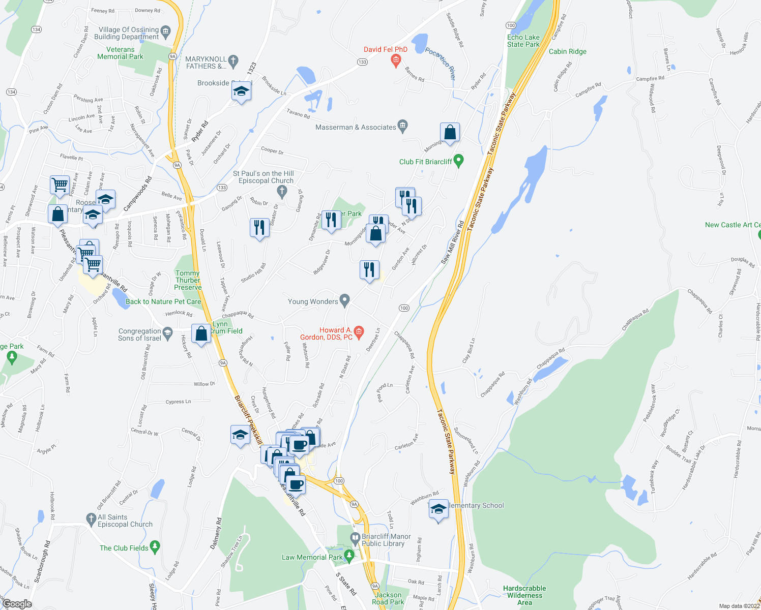 map of restaurants, bars, coffee shops, grocery stores, and more near 4 Gordon Avenue in Briarcliff Manor