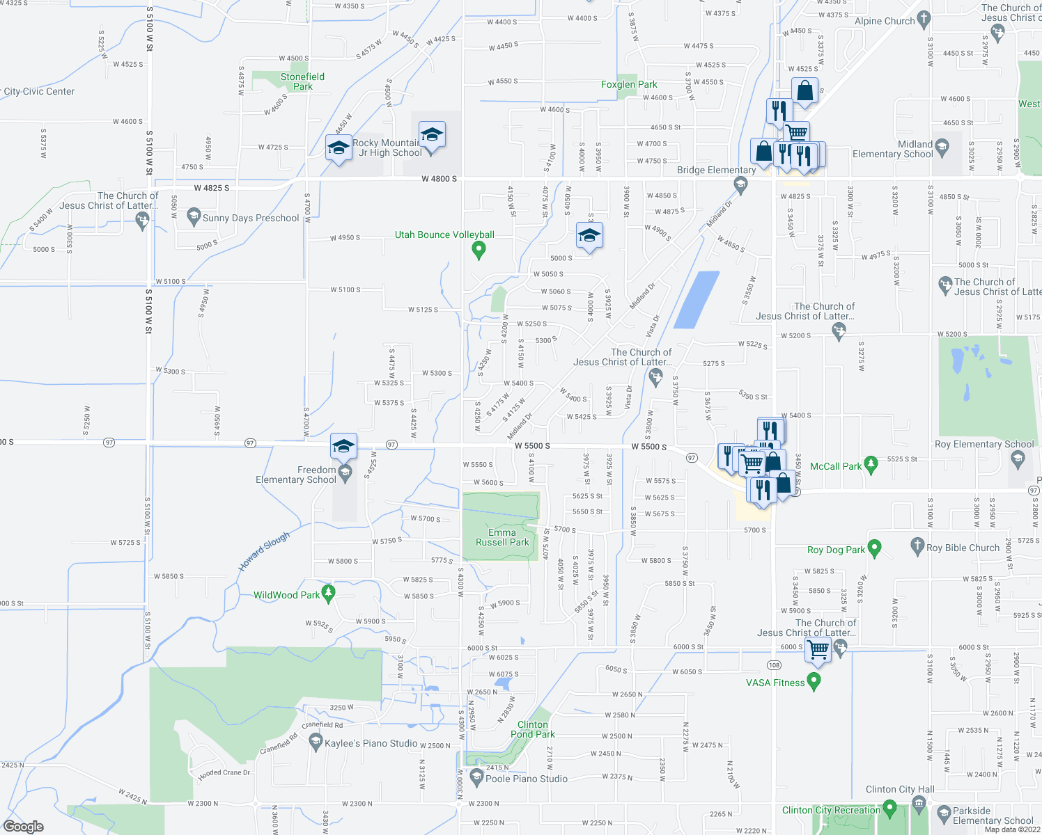 map of restaurants, bars, coffee shops, grocery stores, and more near 5459 S Midland Dr in Roy