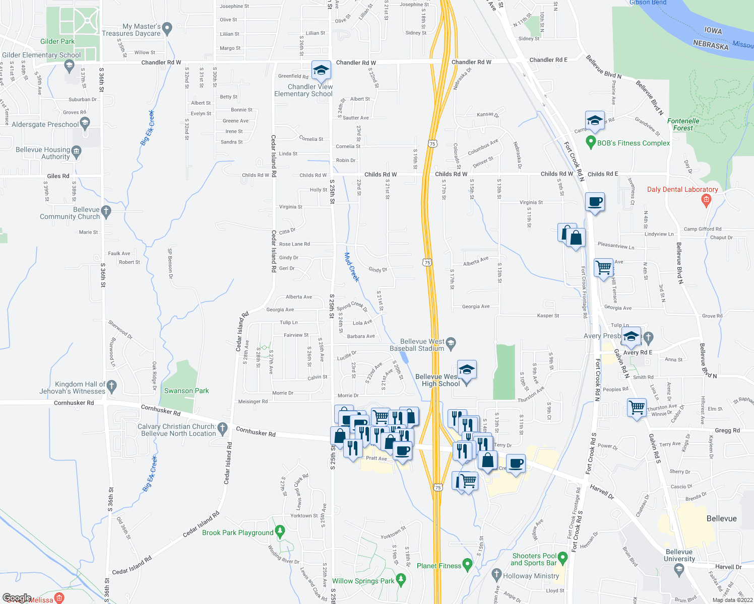 map of restaurants, bars, coffee shops, grocery stores, and more near 9308 South 21st Street in Bellevue