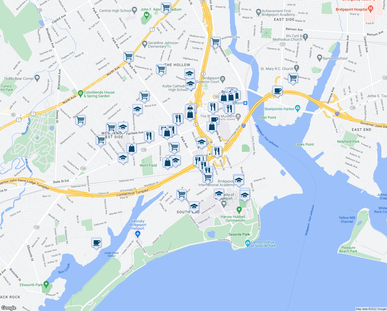 map of restaurants, bars, coffee shops, grocery stores, and more near 327-419 Prospect Street in Bridgeport