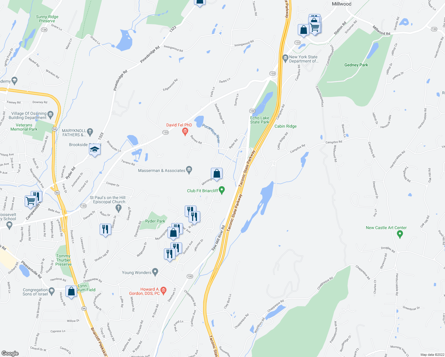 map of restaurants, bars, coffee shops, grocery stores, and more near 601 N State Rd in Briarcliff Manor