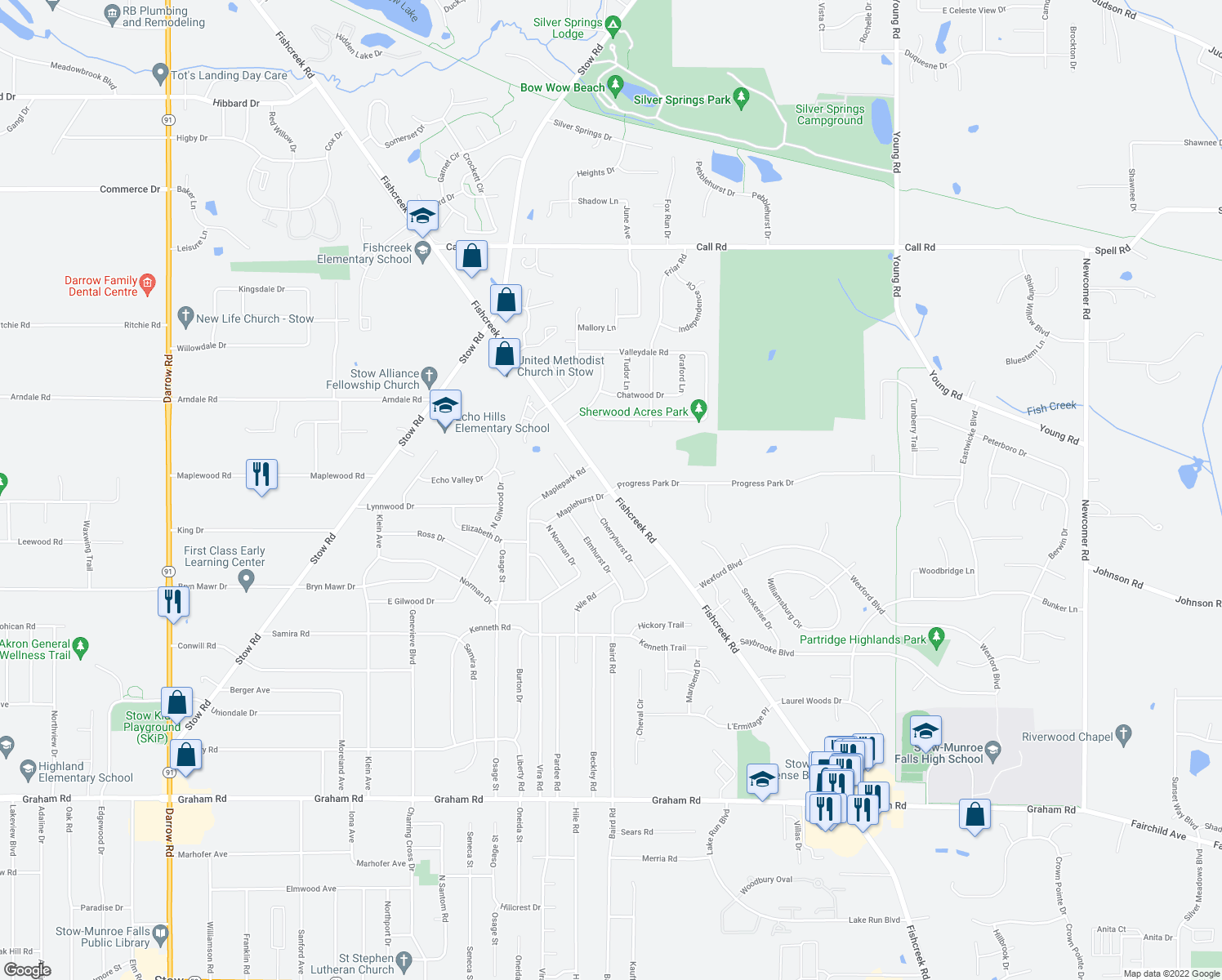map of restaurants, bars, coffee shops, grocery stores, and more near Fishcreek Road in Stow