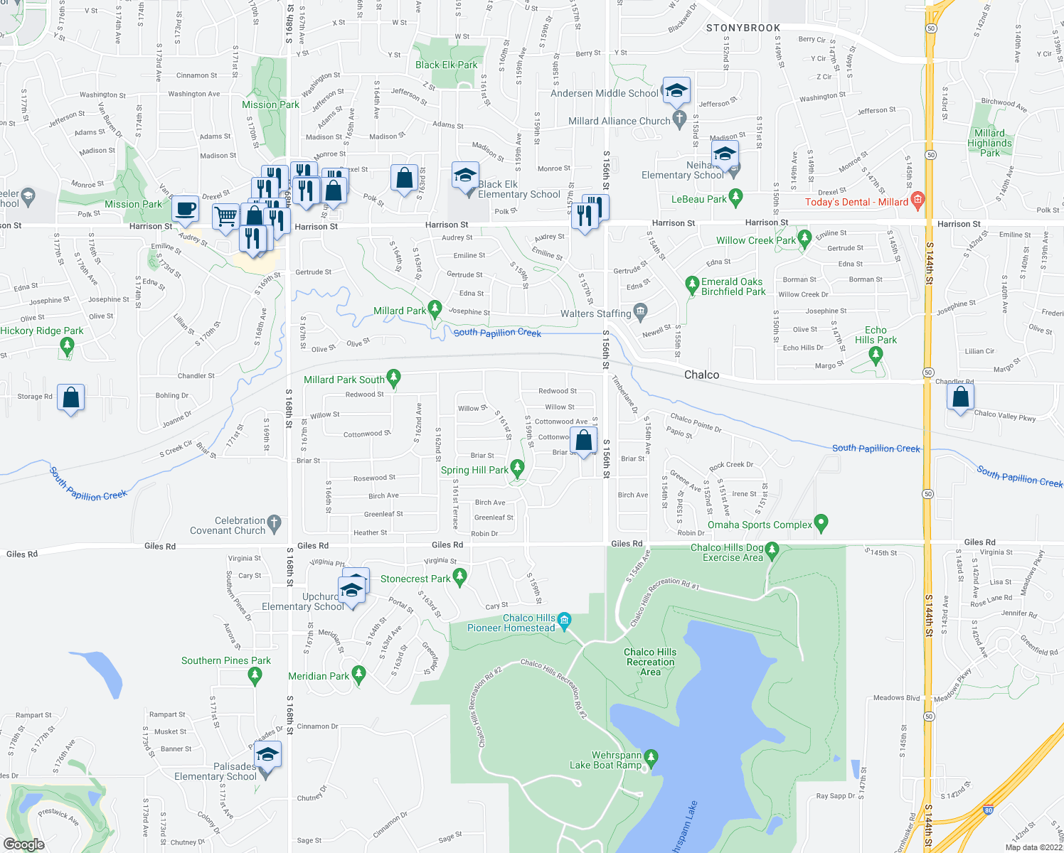 map of restaurants, bars, coffee shops, grocery stores, and more near 7808 South 159th Street in Omaha
