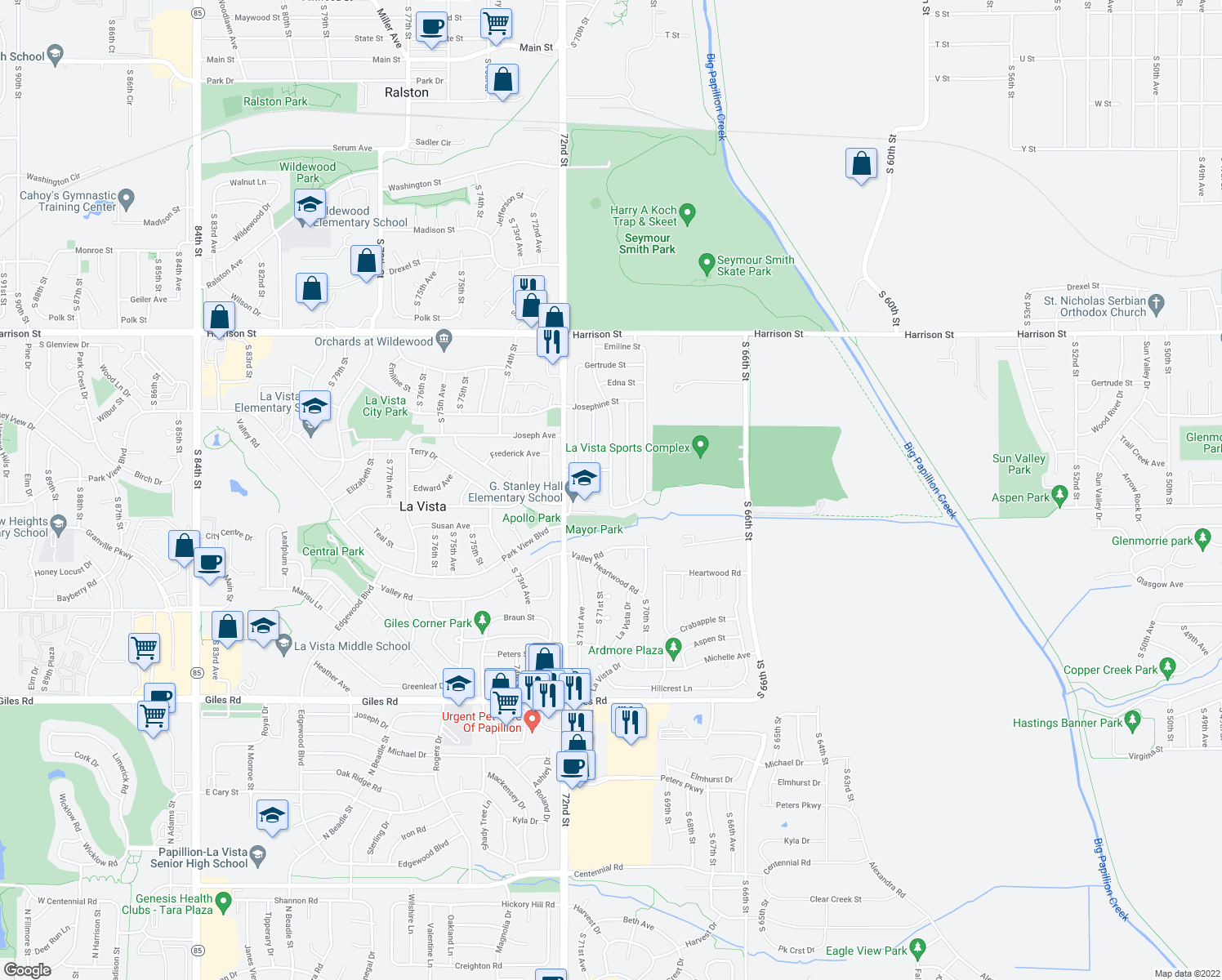 map of restaurants, bars, coffee shops, grocery stores, and more near La Vista Drive in La Vista