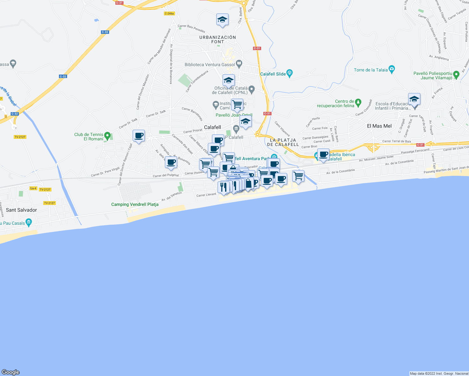 map of restaurants, bars, coffee shops, grocery stores, and more near 31 Avinguda Sant Joan de Déu in Calafell