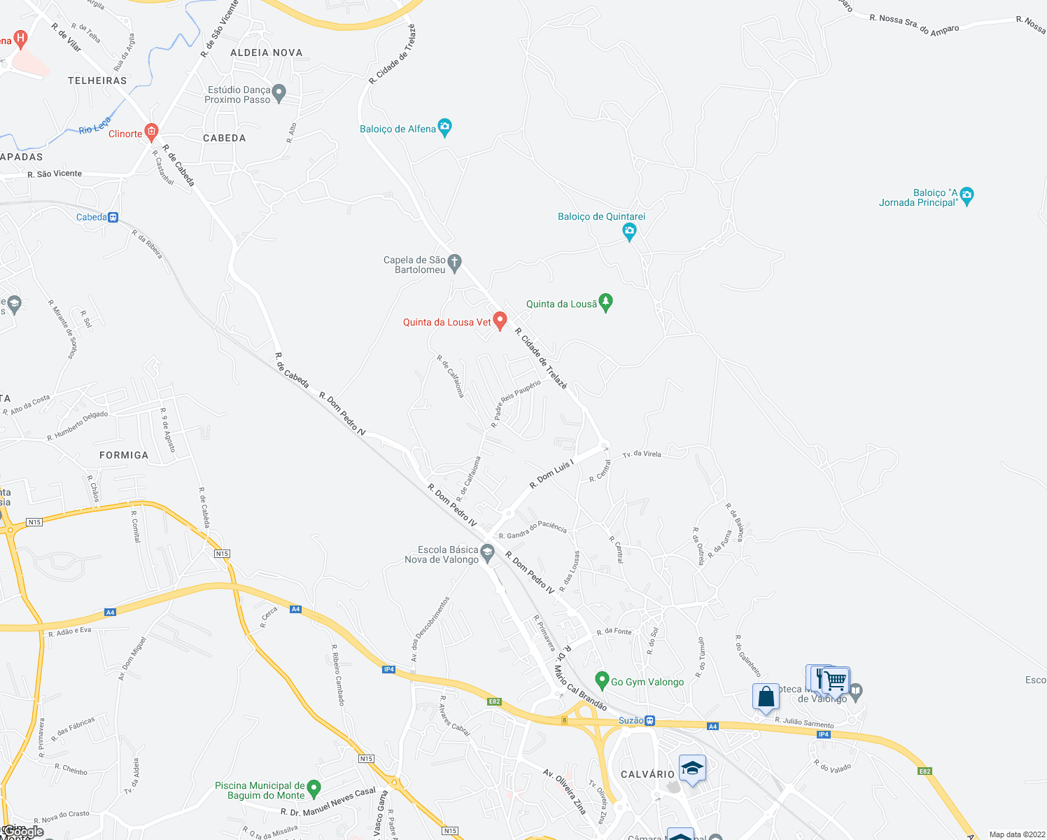 map of restaurants, bars, coffee shops, grocery stores, and more near 400 Rua Padre Bernardo Castro Neves in Valongo