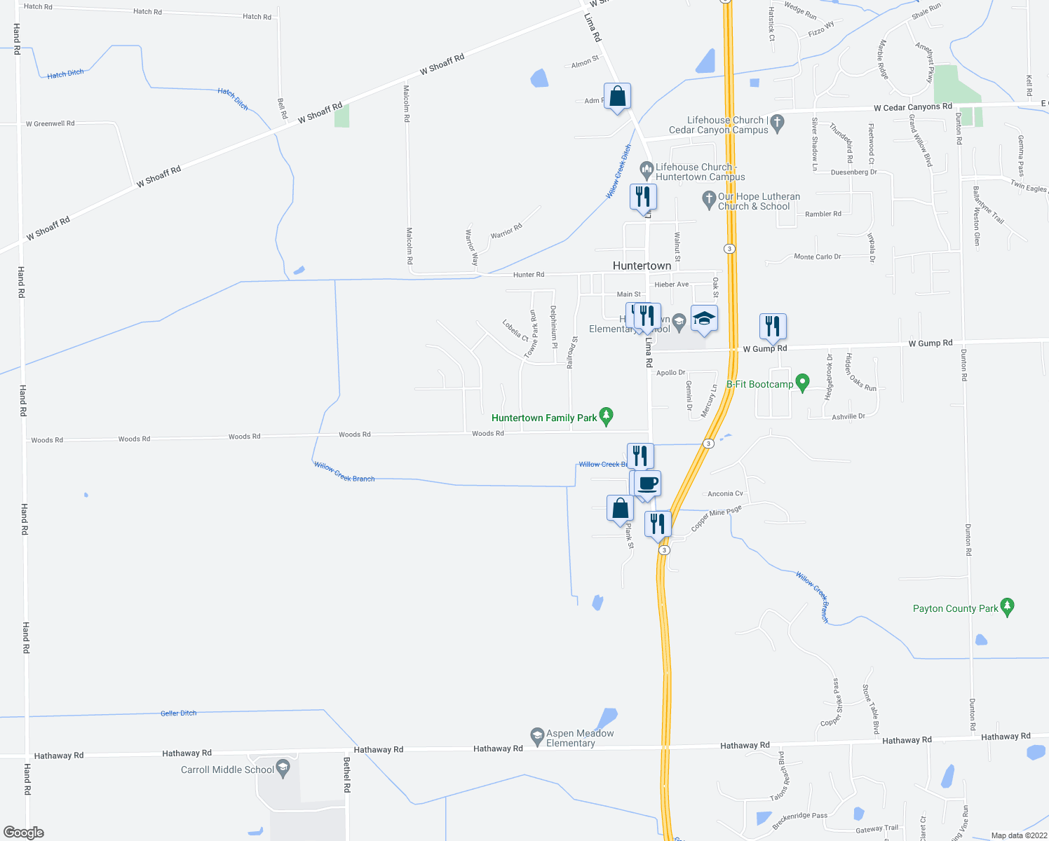 map of restaurants, bars, coffee shops, grocery stores, and more near 14946 Towne Park Run in Huntertown