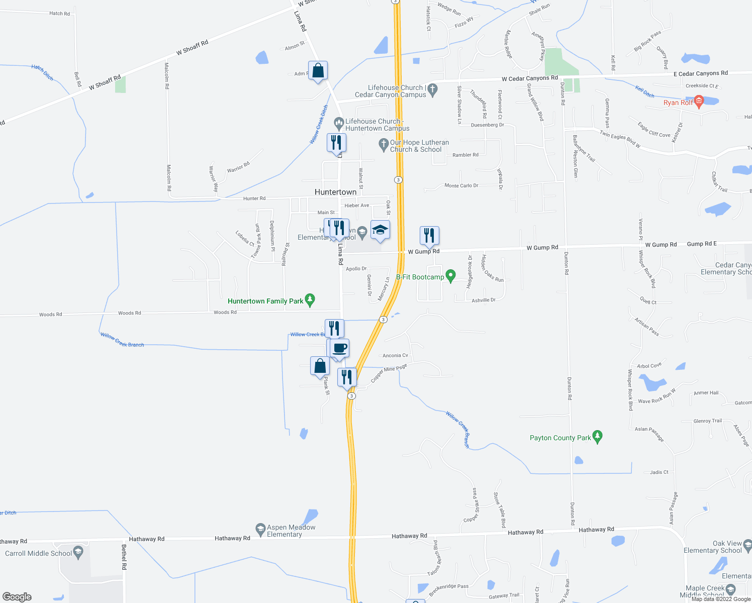 map of restaurants, bars, coffee shops, grocery stores, and more near Mercury Lane in Huntertown