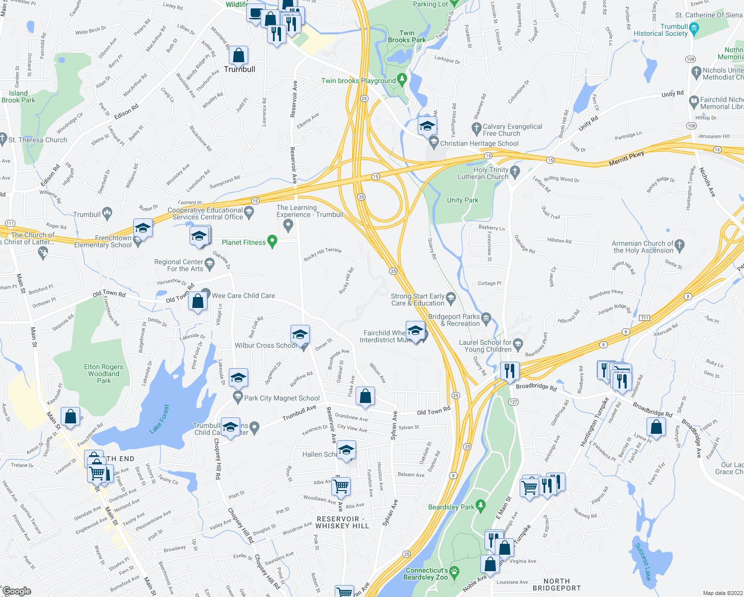 map of restaurants, bars, coffee shops, grocery stores, and more near 100 Avalon Gates in Trumbull
