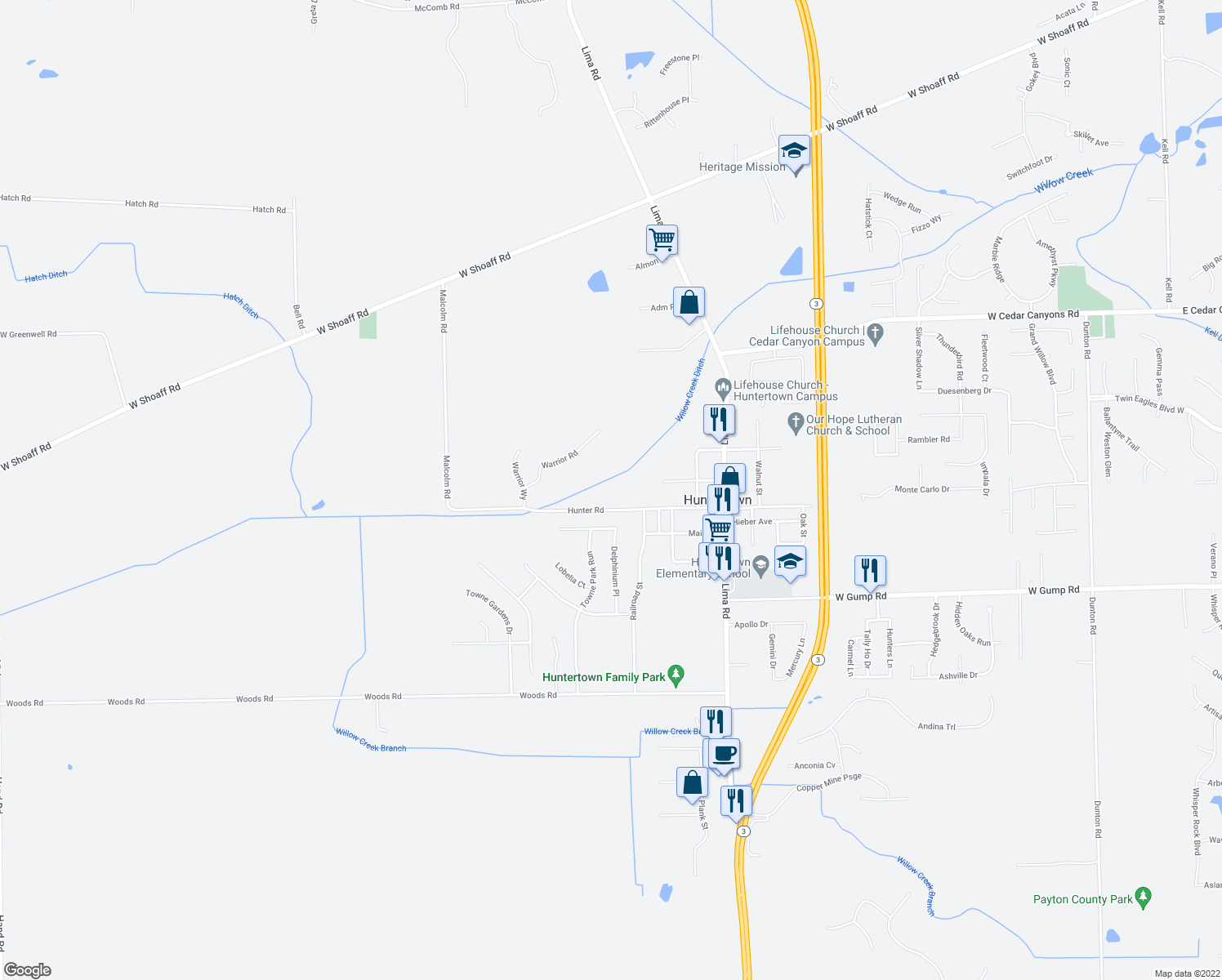 map of restaurants, bars, coffee shops, grocery stores, and more near 2434 Hunter Road in Huntertown