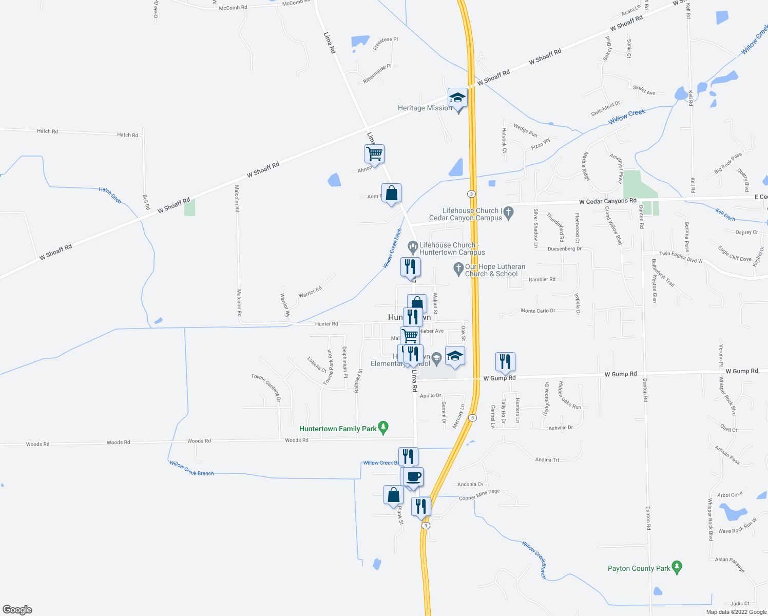 map of restaurants, bars, coffee shops, grocery stores, and more near 2225 Edgerton Street in Huntertown