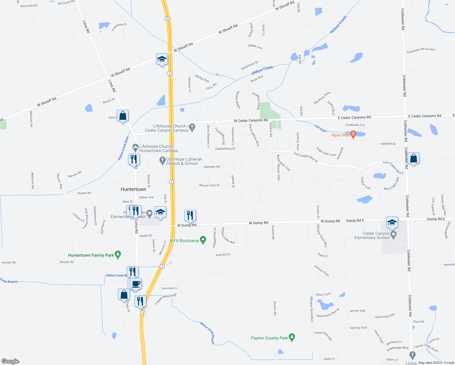 map of restaurants, bars, coffee shops, grocery stores, and more near 1228 Monte Carlo Drive in Huntertown