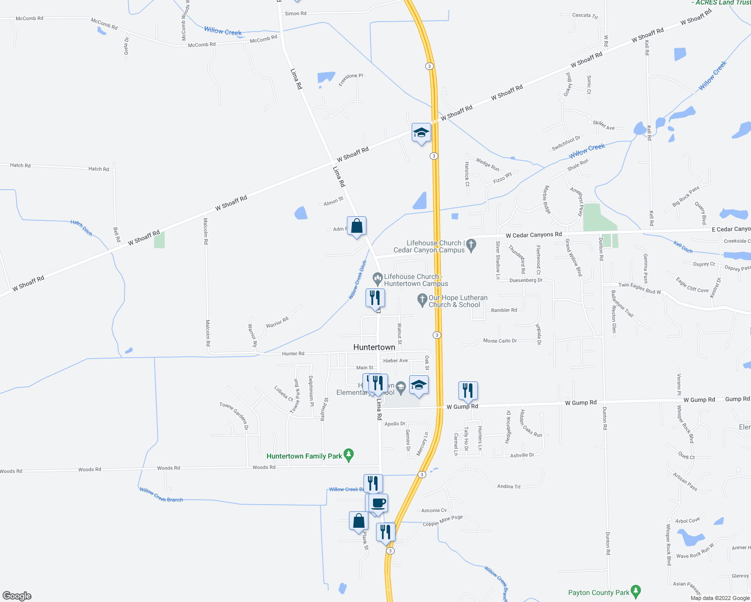 map of restaurants, bars, coffee shops, grocery stores, and more near 15909 Lima Road in Huntertown