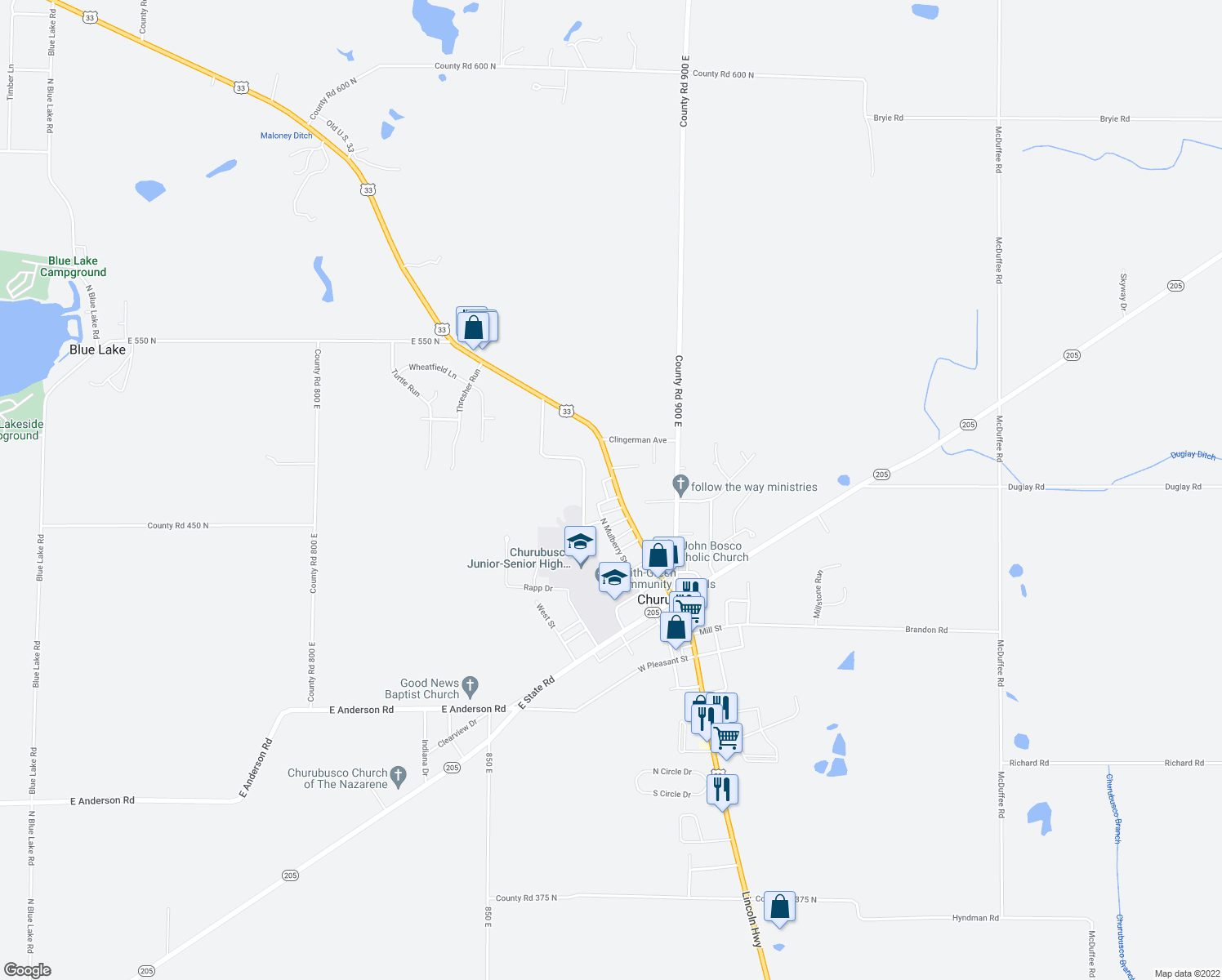 map of restaurants, bars, coffee shops, grocery stores, and more near 607 North Main Street in Churubusco
