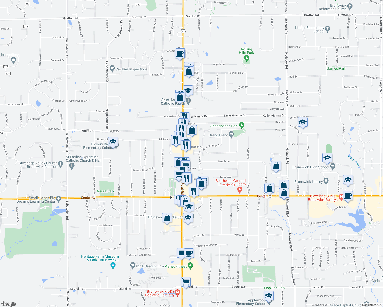map of restaurants, bars, coffee shops, grocery stores, and more near 4274 Settlers Way in Brunswick