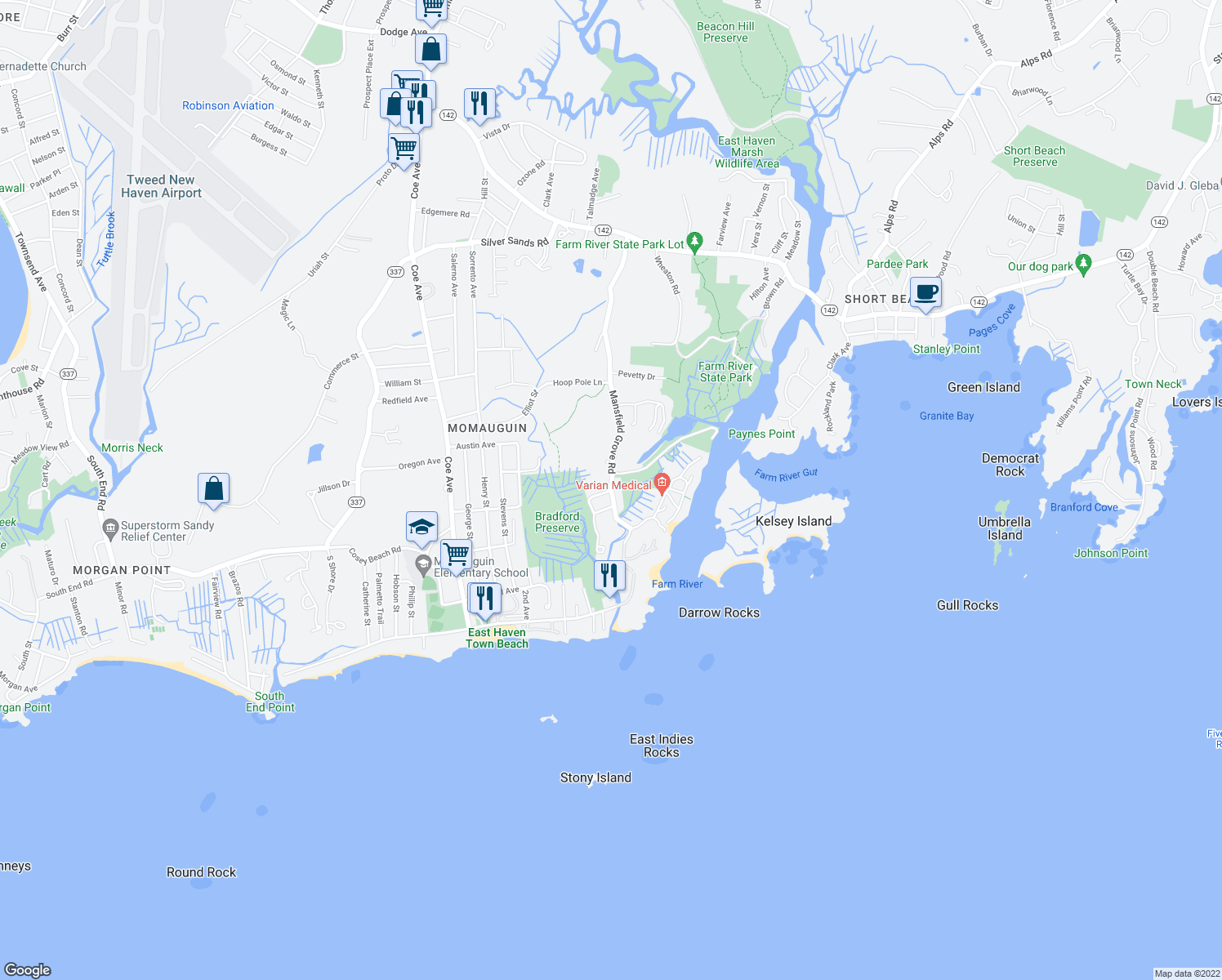 map of restaurants, bars, coffee shops, grocery stores, and more near 134 Mansfield Grove Road in East Haven