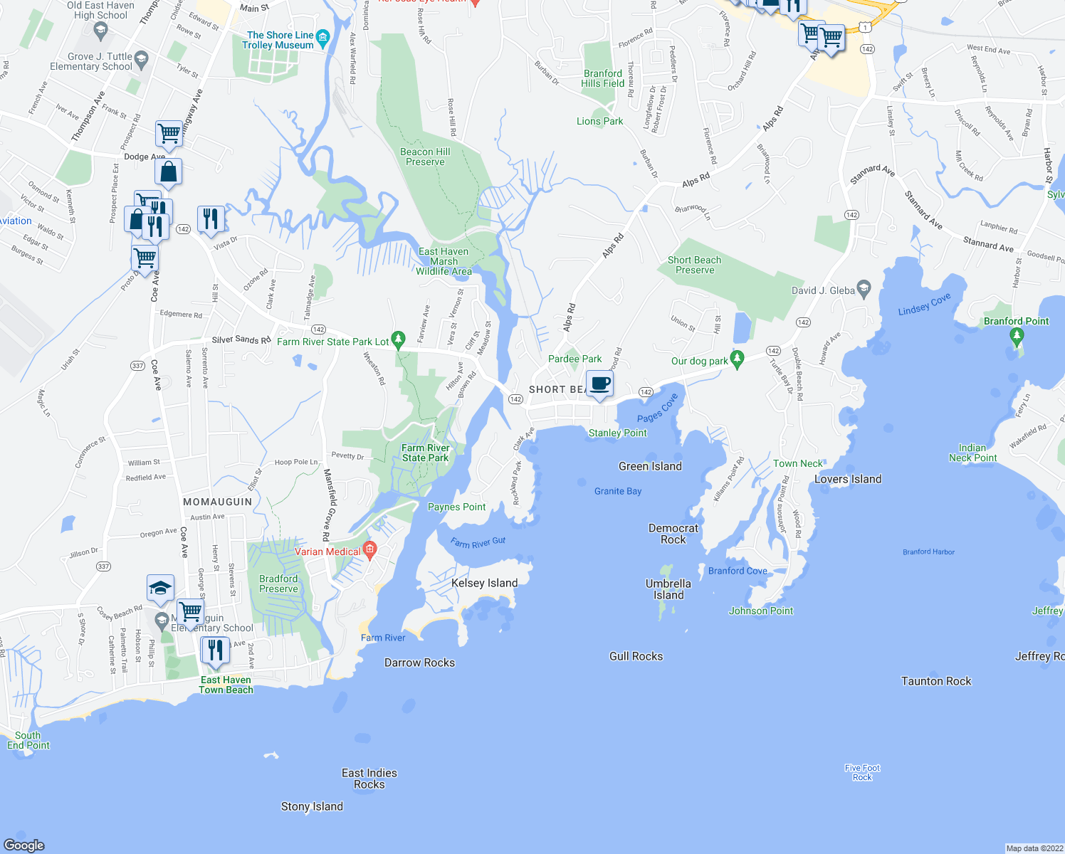 map of restaurants, bars, coffee shops, grocery stores, and more near 225 Clark Ave in Branford