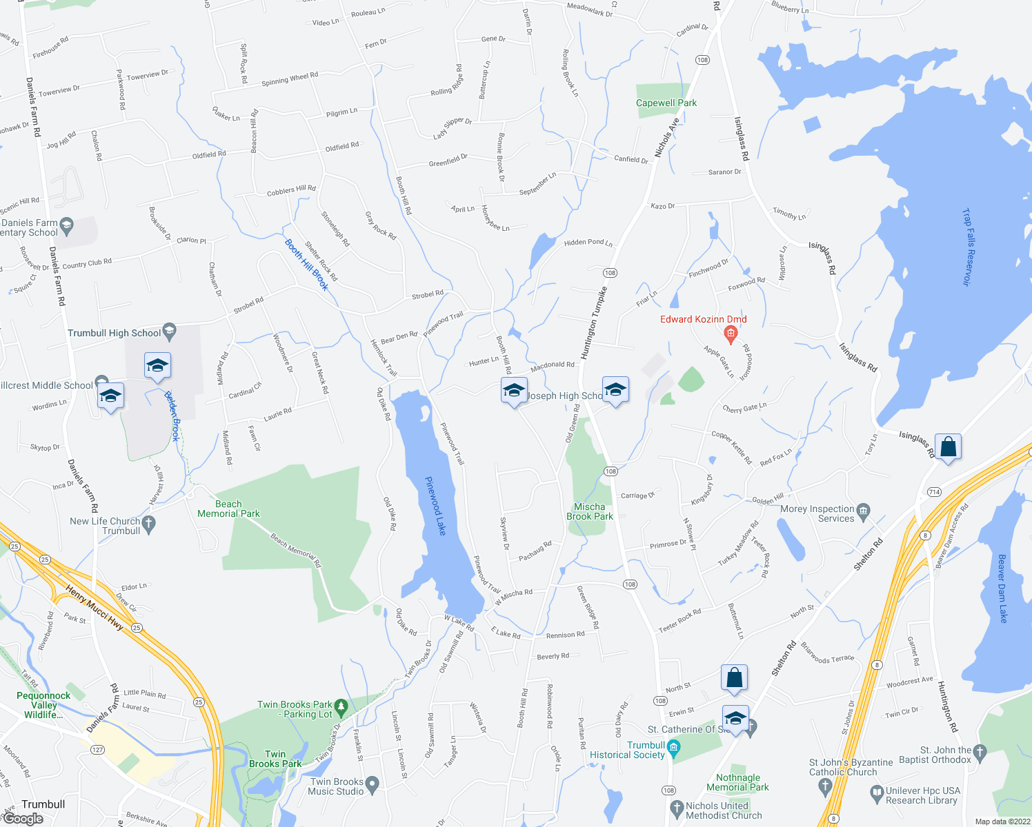 map of restaurants, bars, coffee shops, grocery stores, and more near 545 Booth Hill Road in Trumbull