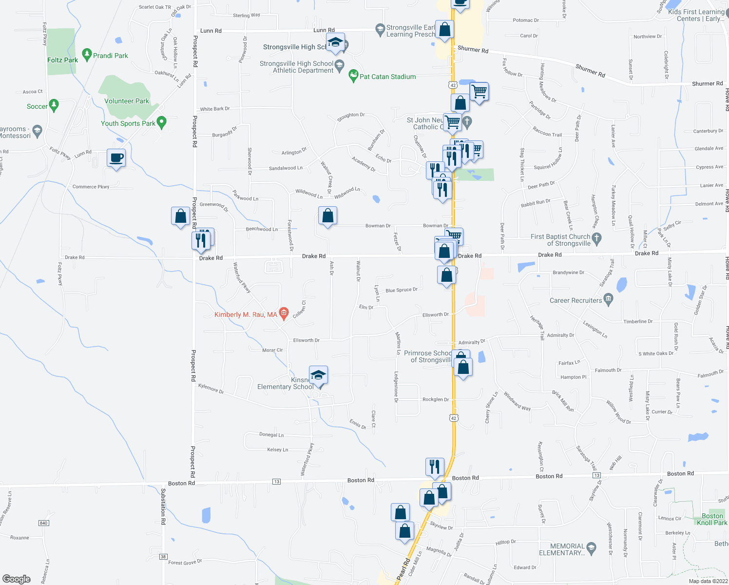 map of restaurants, bars, coffee shops, grocery stores, and more near 17963 Walnut Drive in Strongsville