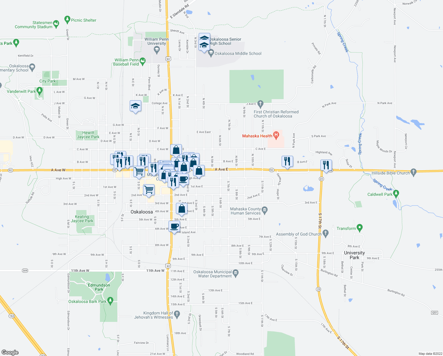 map of restaurants, bars, coffee shops, grocery stores, and more near 713 High Ave E in Oskaloosa