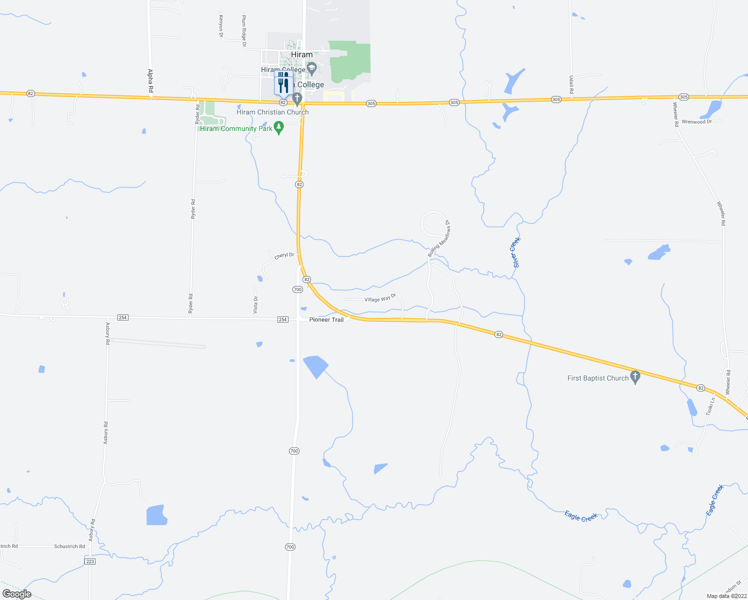 map of restaurants, bars, coffee shops, grocery stores, and more near Village Way Drive in Garrettsville
