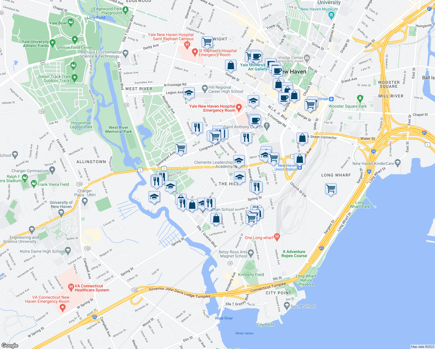 map of restaurants, bars, coffee shops, grocery stores, and more near 35 Frank Street in New Haven