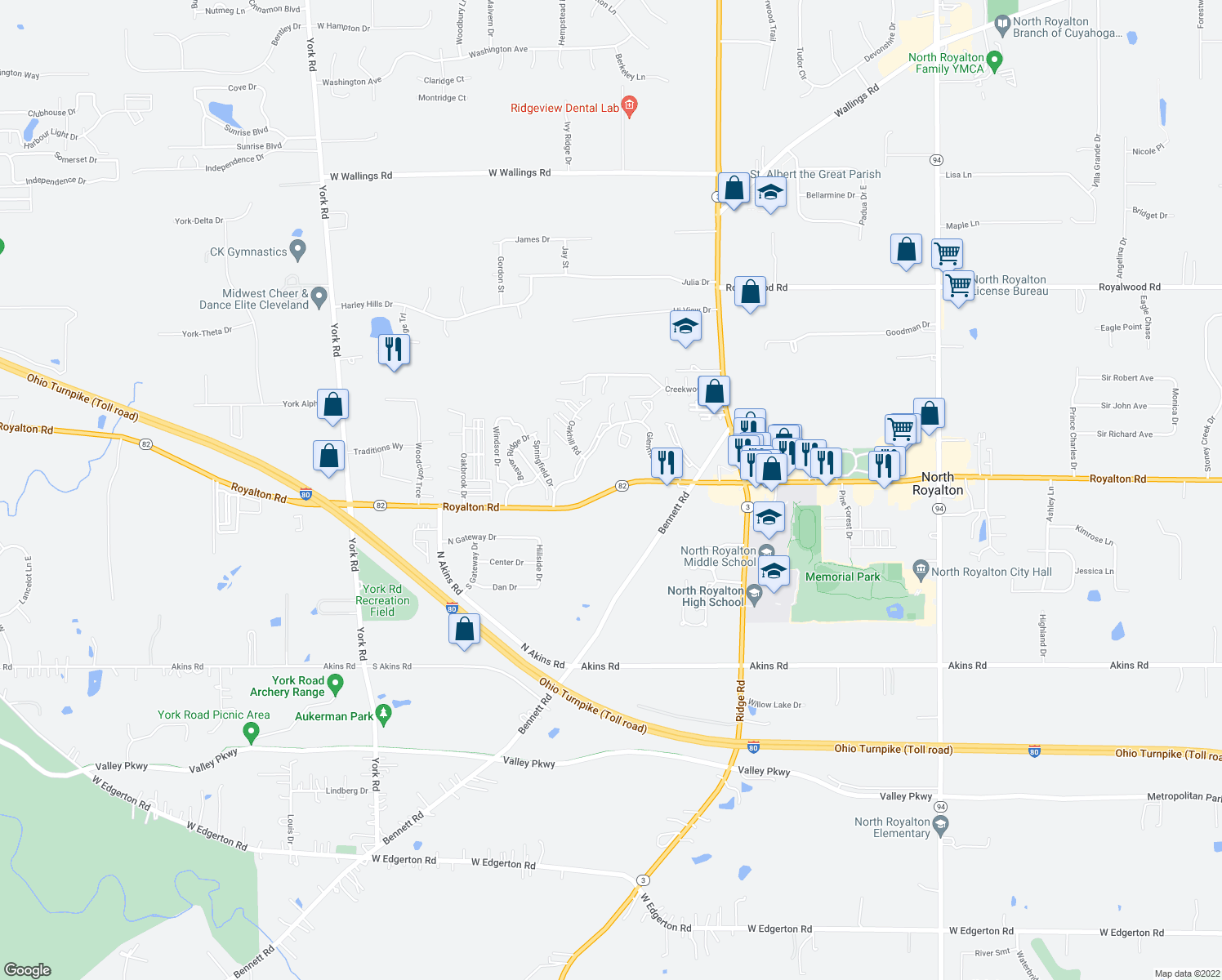 map of restaurants, bars, coffee shops, grocery stores, and more near Royalton Road in North Royalton
