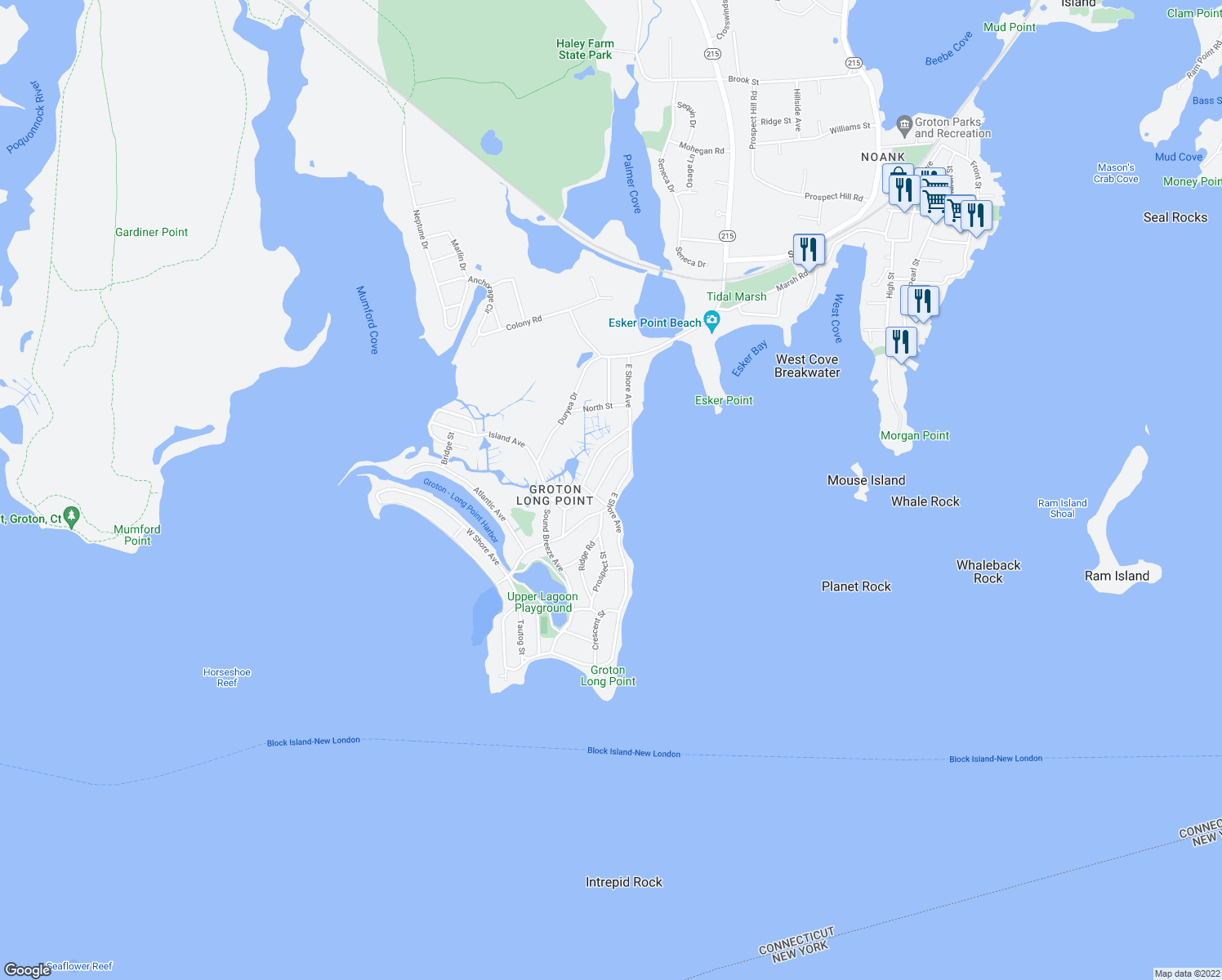 map of restaurants, bars, coffee shops, grocery stores, and more near 72 East Shore Avenue in Groton