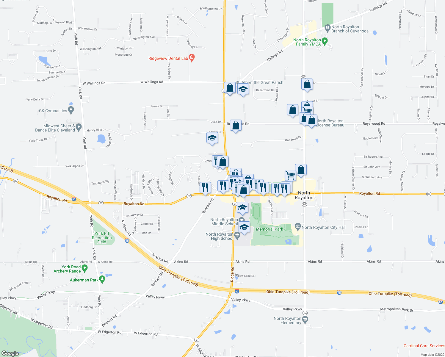 map of restaurants, bars, coffee shops, grocery stores, and more near 13712 Bennett Road in North Royalton