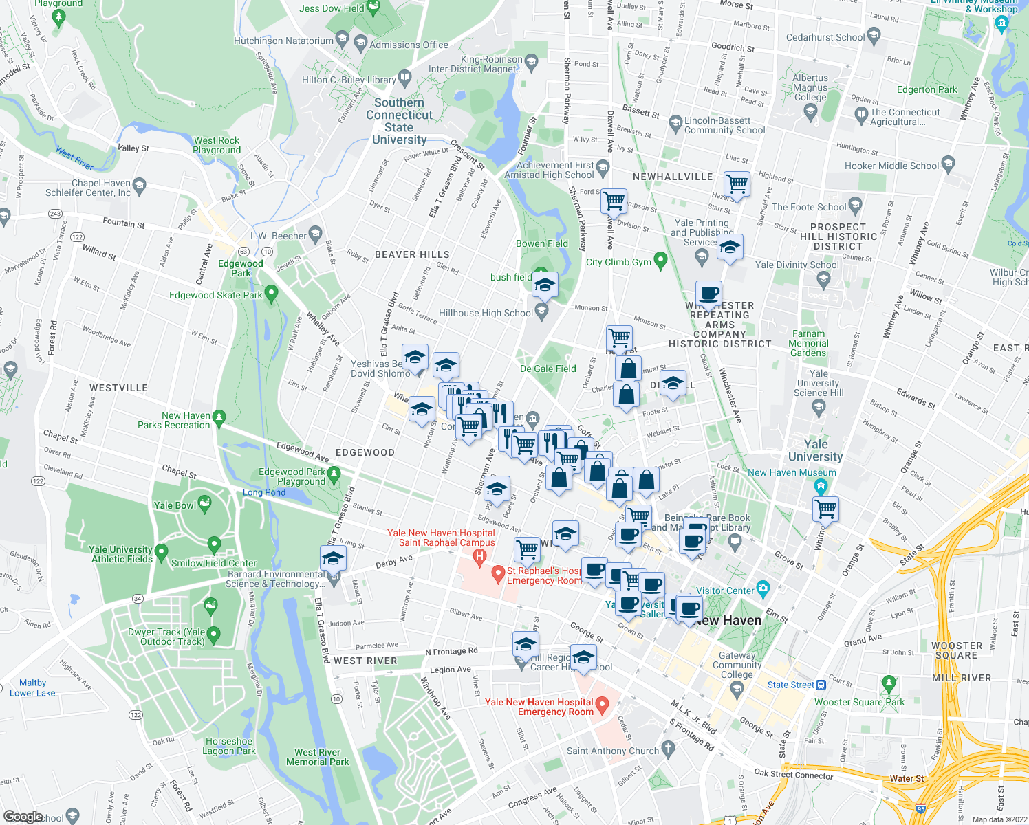map of restaurants, bars, coffee shops, grocery stores, and more near 347 Sherman Avenue in New Haven