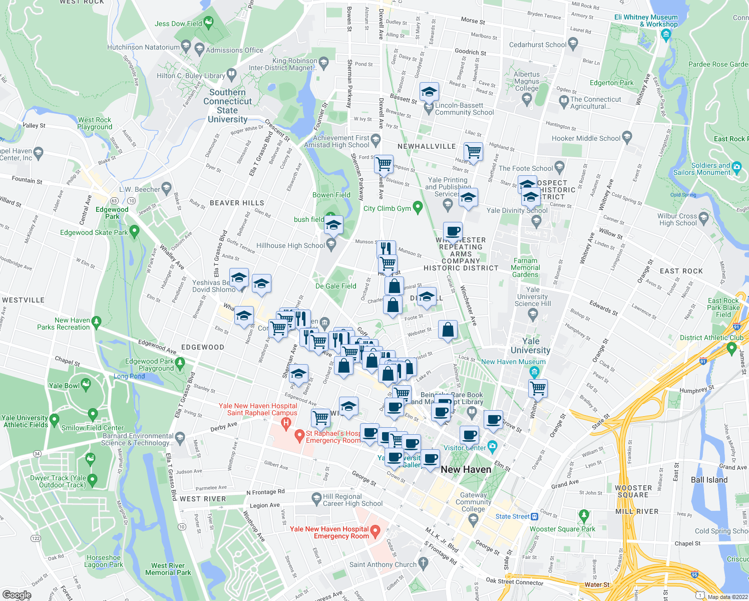 map of restaurants, bars, coffee shops, grocery stores, and more near 53-55 Charles Street in New Haven