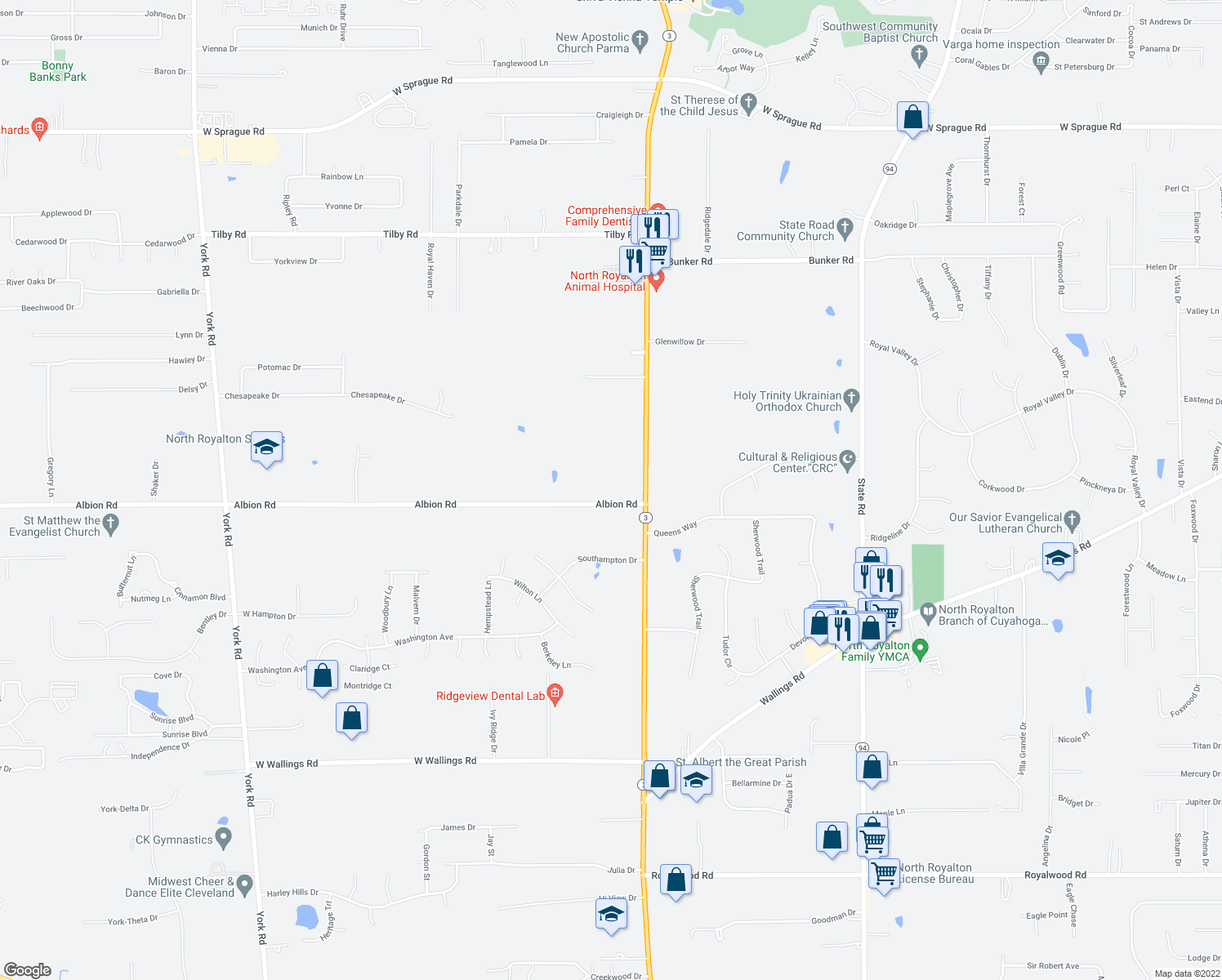 map of restaurants, bars, coffee shops, grocery stores, and more near 7246 Albion Road in North Royalton