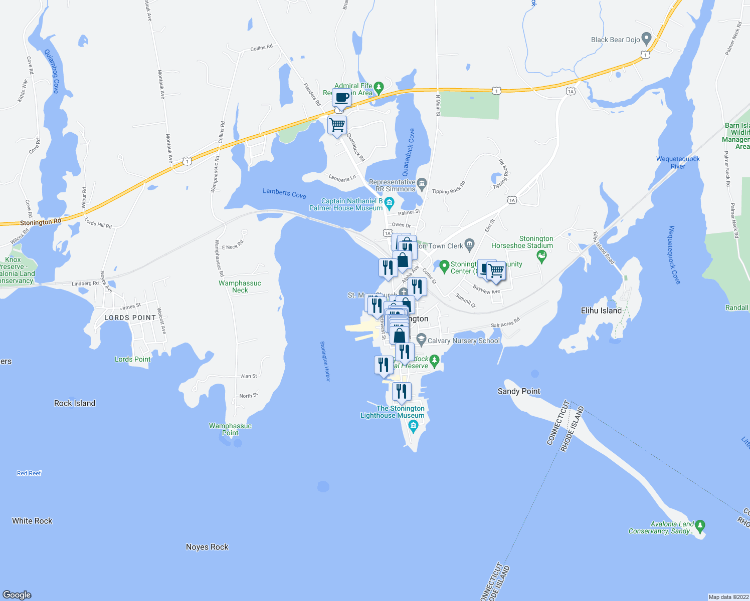 map of restaurants, bars, coffee shops, grocery stores, and more near 27 Front Street in Stonington